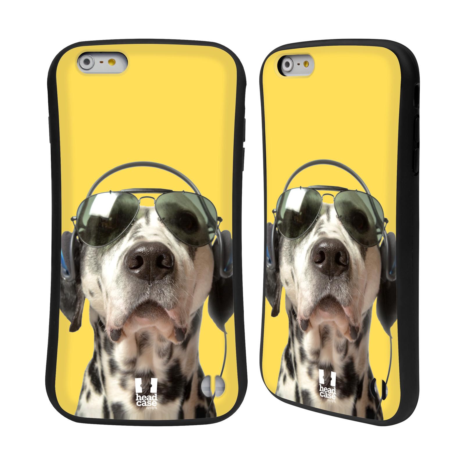HEAD CASE silikon/plast odolný obal na mobil Apple Iphone 6 PLUS / 6S PLUS vzor Legrační zvířátka dalmatin se sluchátky žlutá