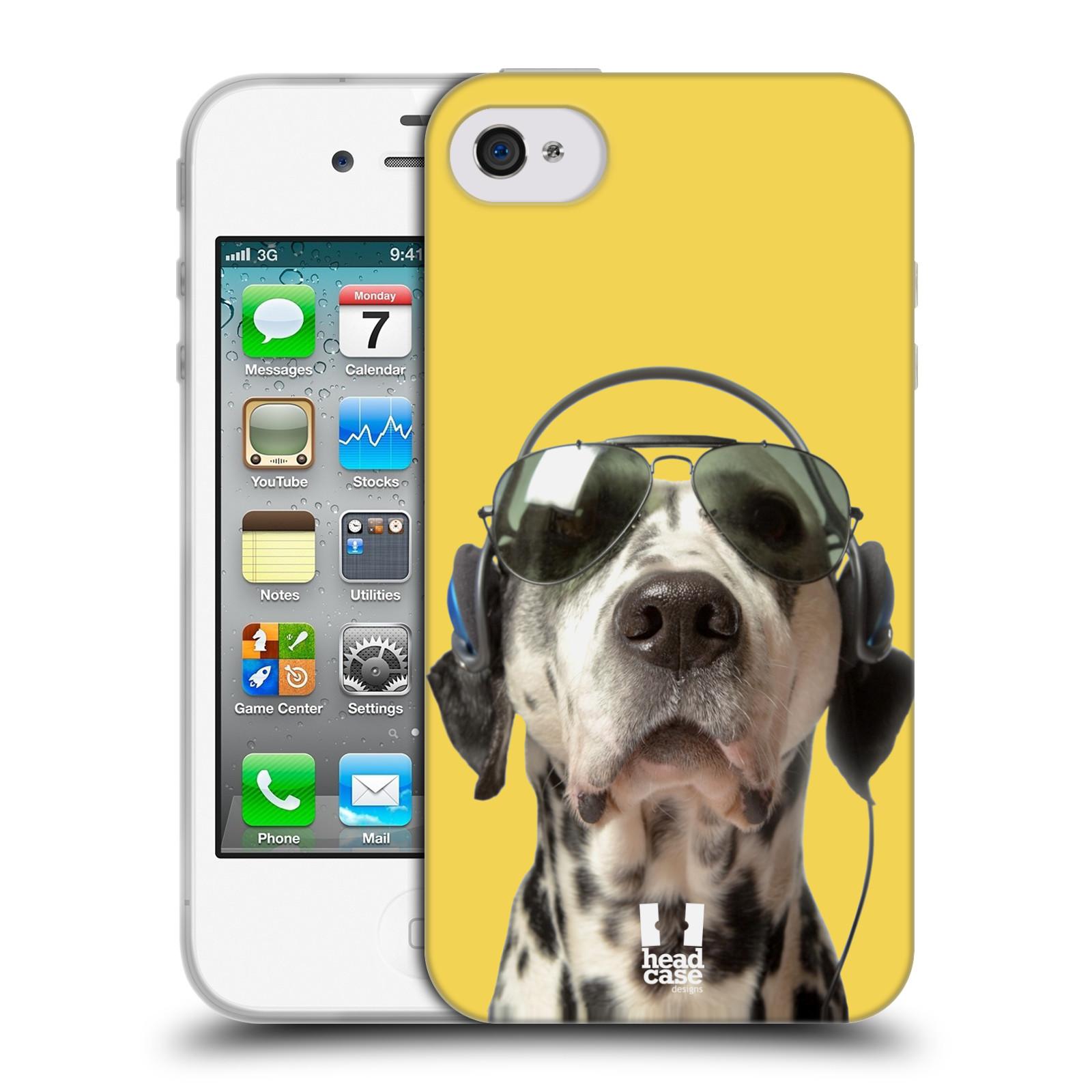 HEAD CASE silikonový obal na mobil Apple Iphone 4/4S vzor Legrační zvířátka dalmatin se sluchátky žlutá