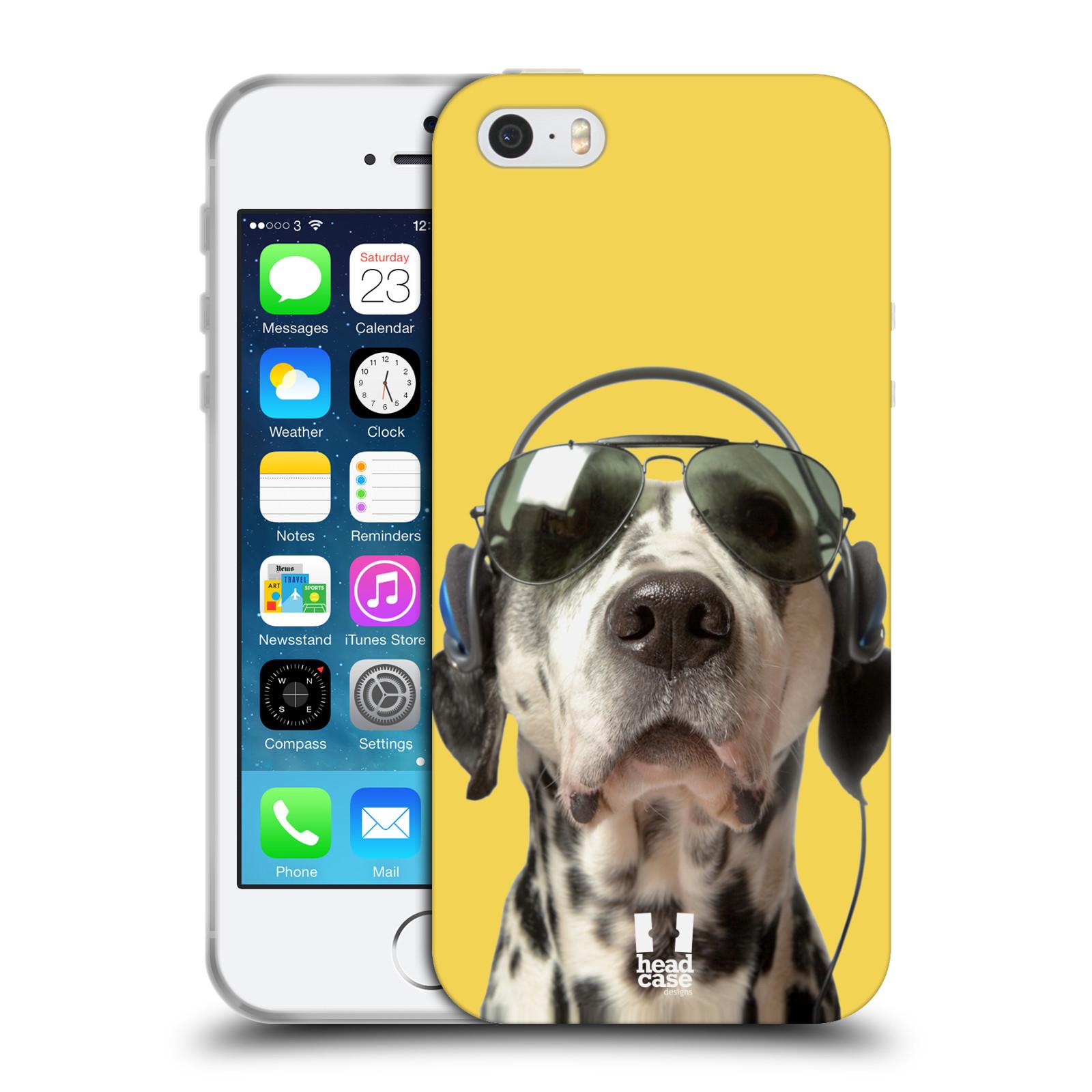 HEAD CASE silikonový obal na mobil Apple Iphone 5/5S vzor Legrační zvířátka dalmatin se sluchátky žlutá