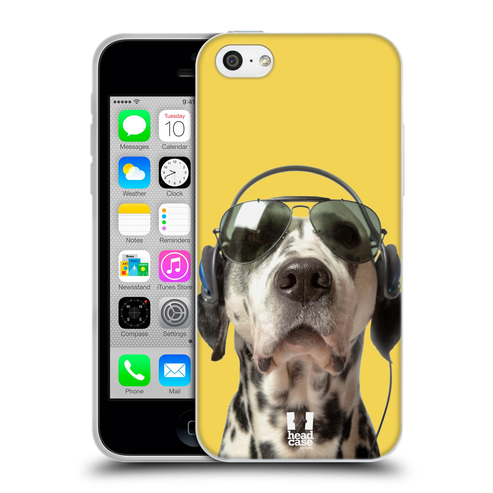 HEAD CASE silikonový obal na mobil Apple Iphone 5C vzor Legrační zvířátka dalmatin se sluchátky žlutá