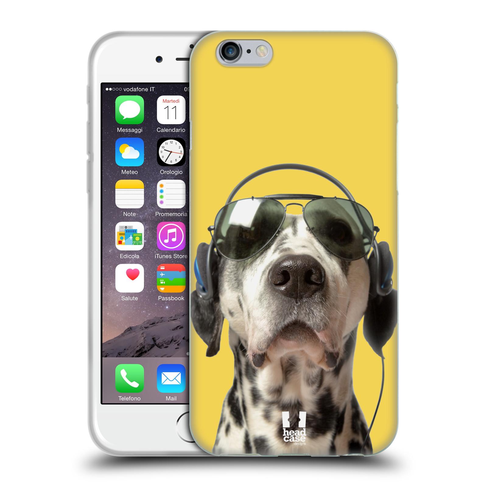 HEAD CASE silikonový obal na mobil Apple Iphone 6/6S vzor Legrační zvířátka dalmatin se sluchátky žlutá
