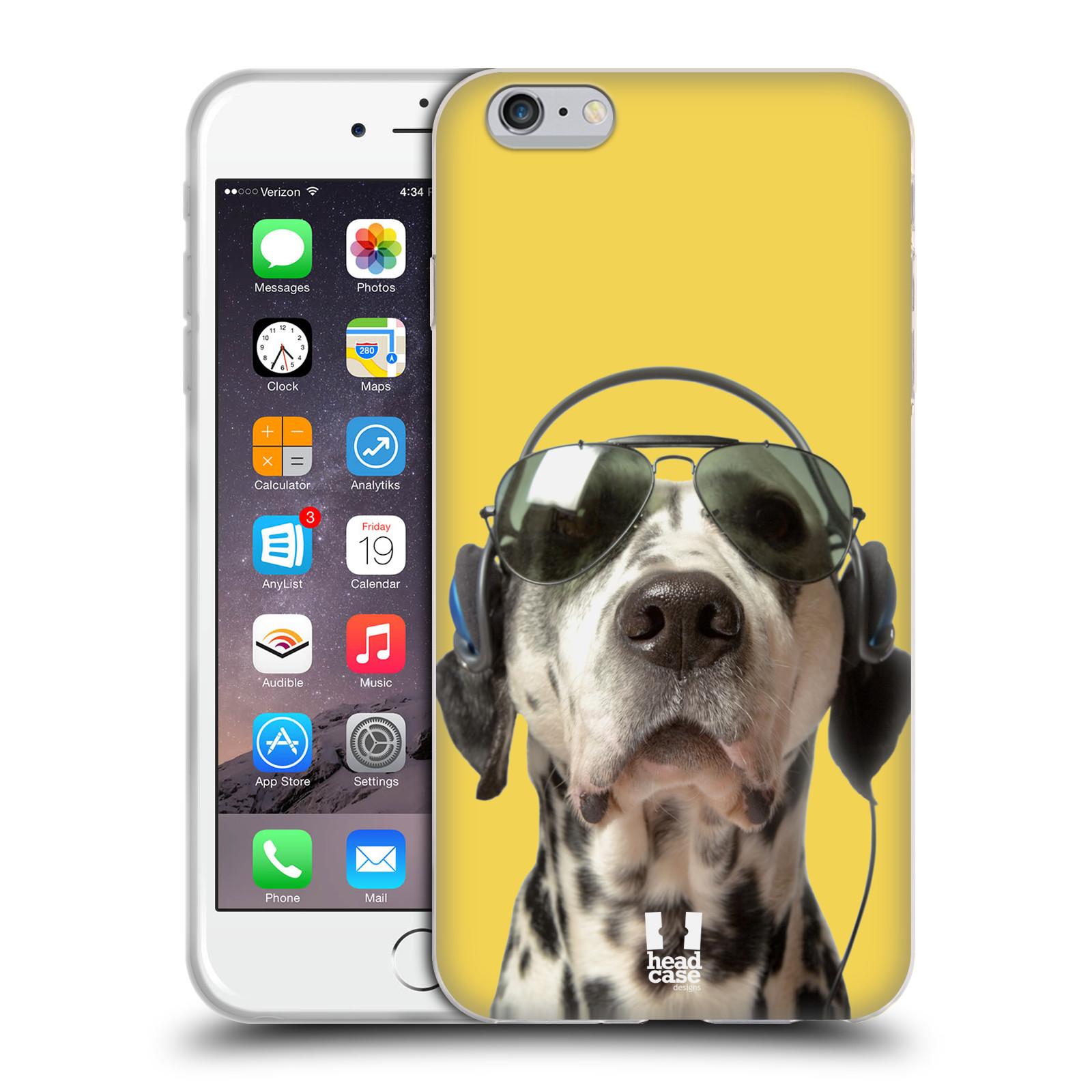 HEAD CASE silikonový obal na mobil Apple Iphone 6 PLUS/ 6S PLUS vzor Legrační zvířátka dalmatin se sluchátky žlutá
