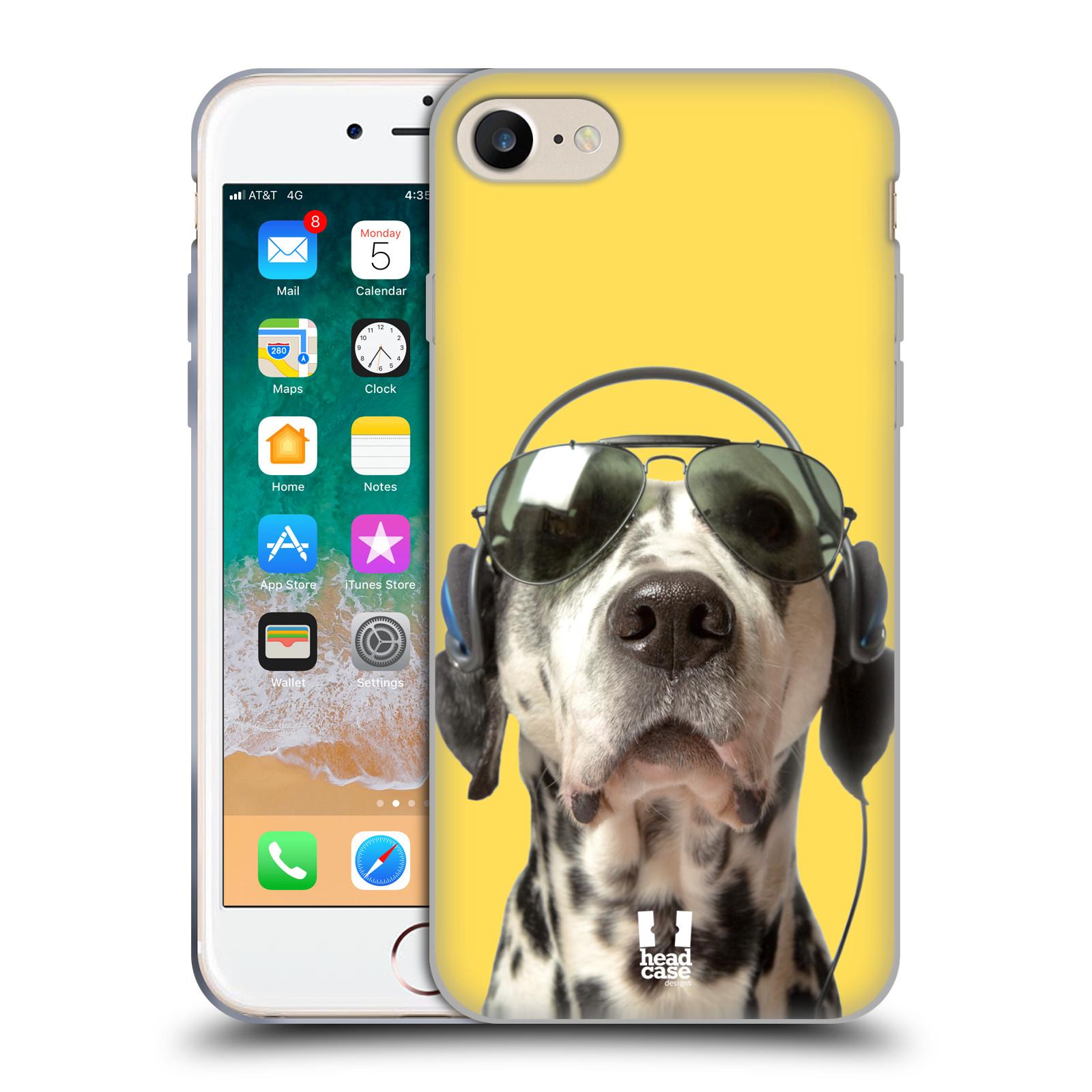 HEAD CASE silikonový obal na mobil Apple Iphone 7 vzor Legrační zvířátka dalmatin se sluchátky žlutá