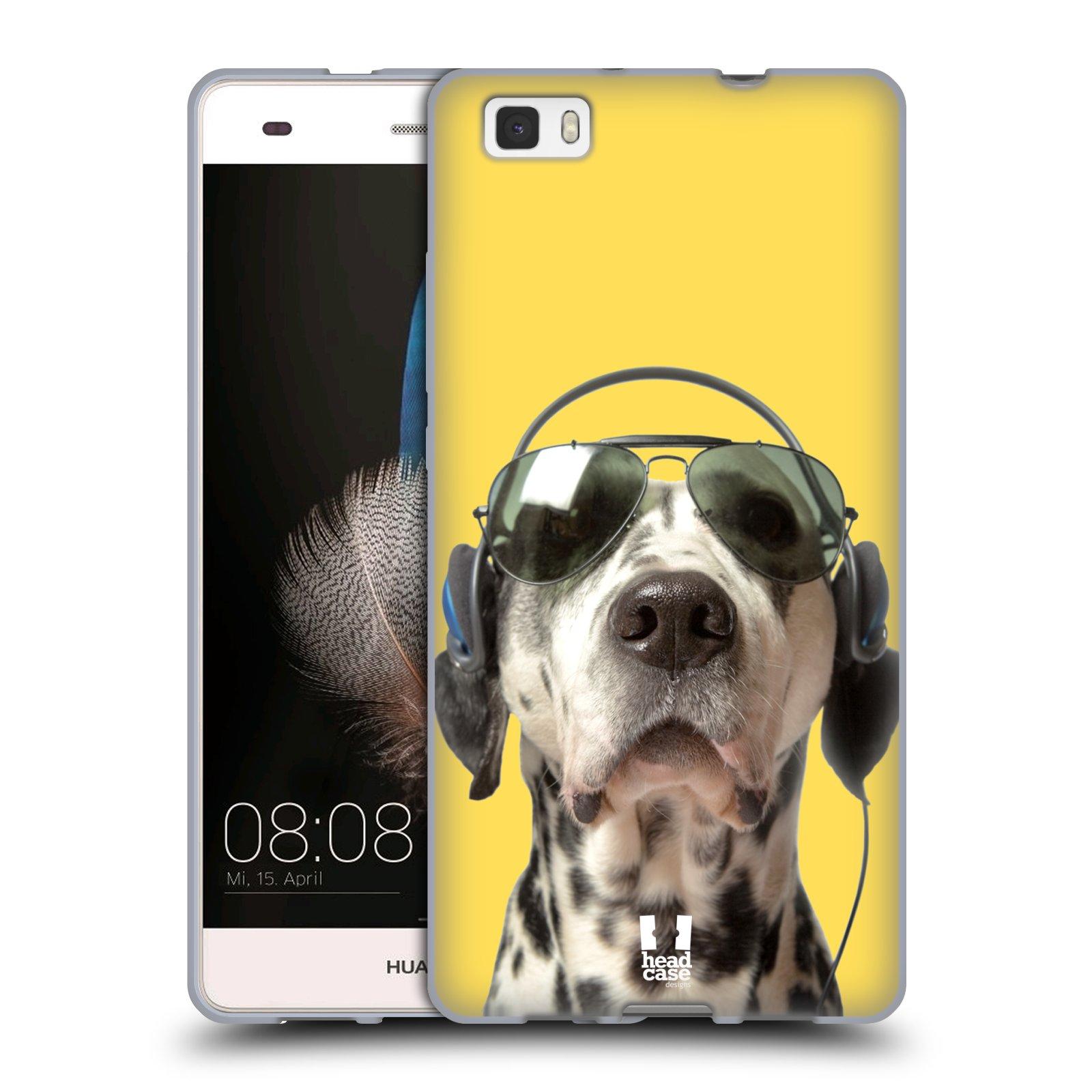 HEAD CASE silikonový obal na mobil Huawei  P8 LITE Legrační zvířátka Dalmatin se sluchátky