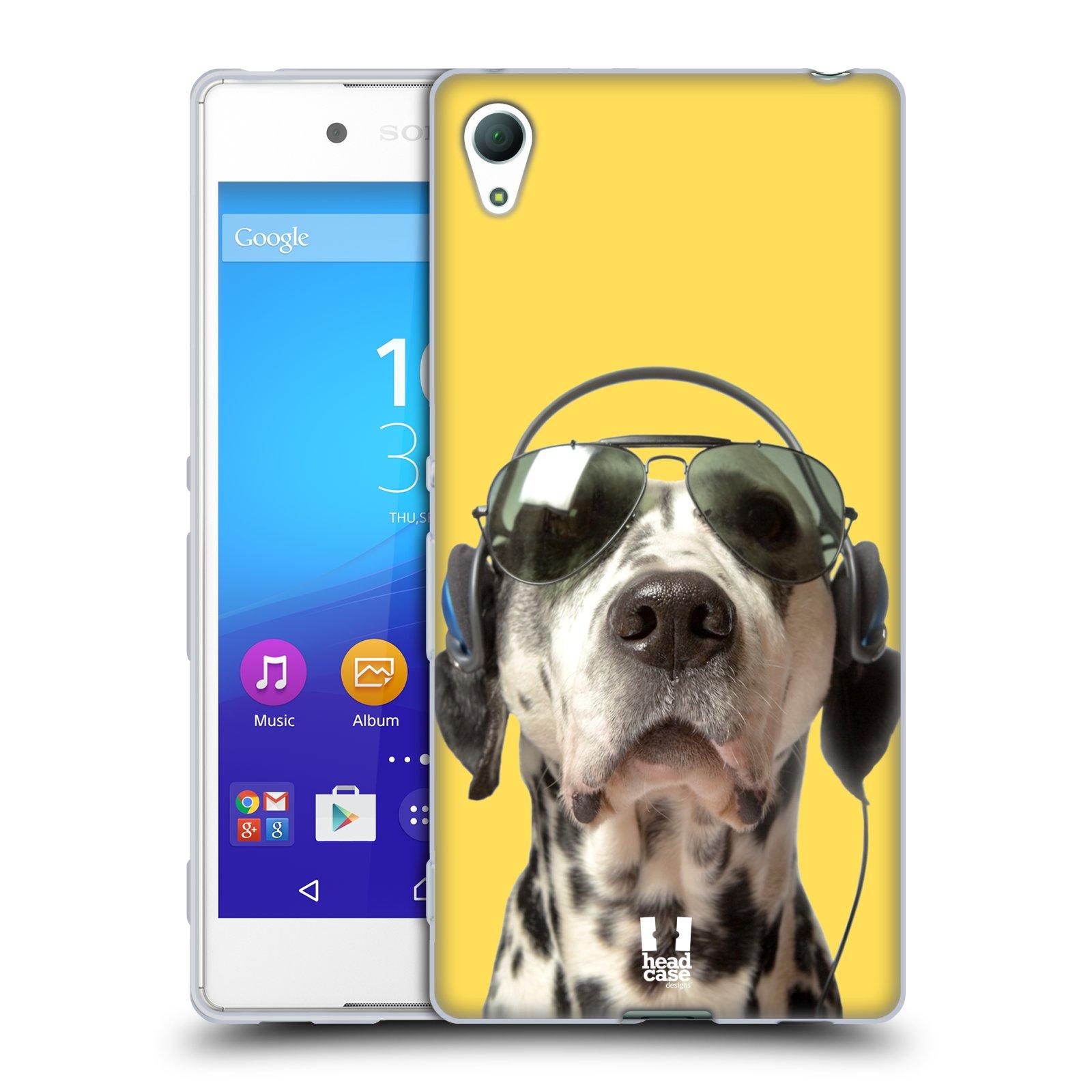 HEAD CASE silikonový obal na mobil Sony Xperia Z3 + (PLUS) vzor Legrační zvířátka dalmatin se sluchátky žlutá