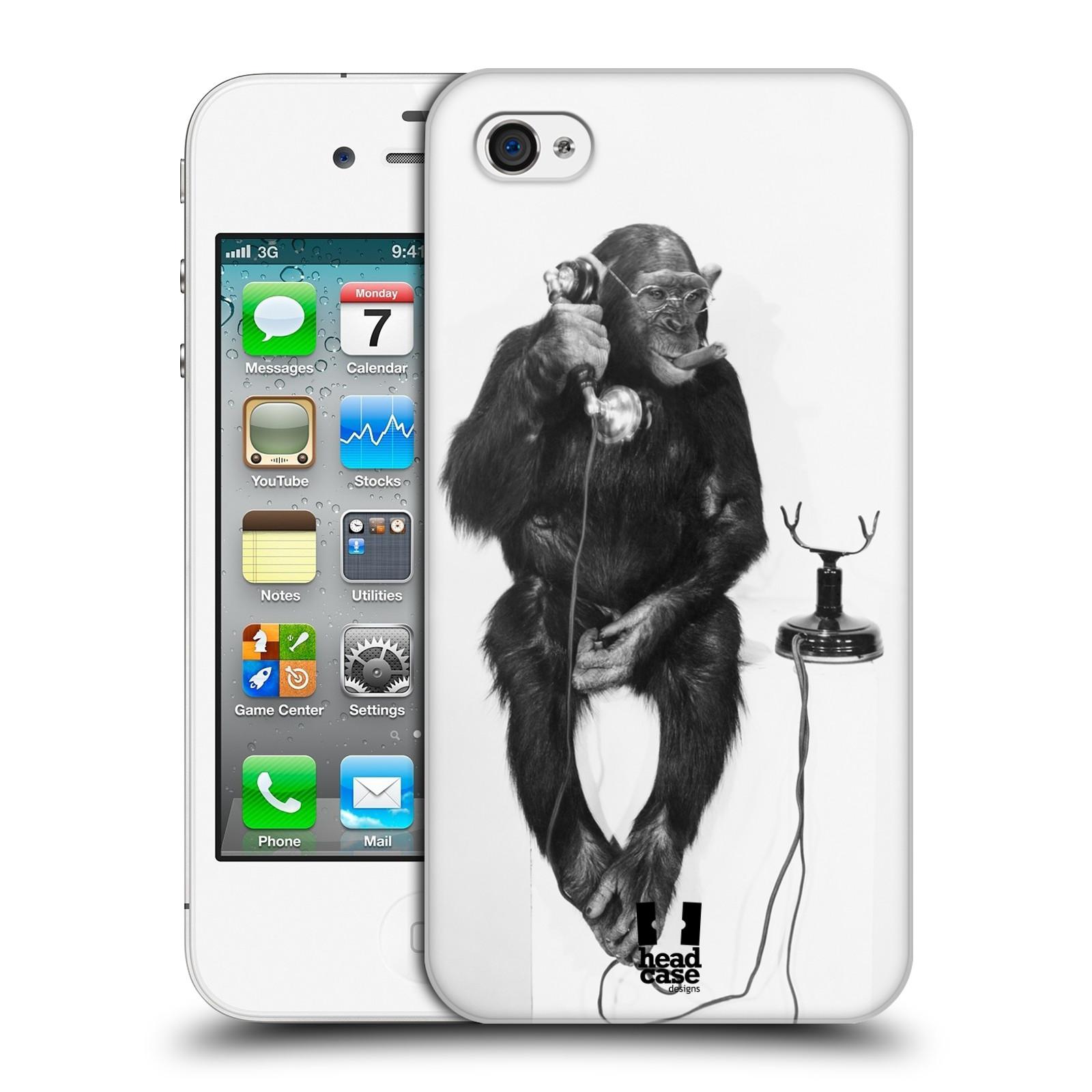 HEAD CASE plastový obal na mobil Apple Iphone 4/4S vzor Legrační zvířátka opička se sluchátkem