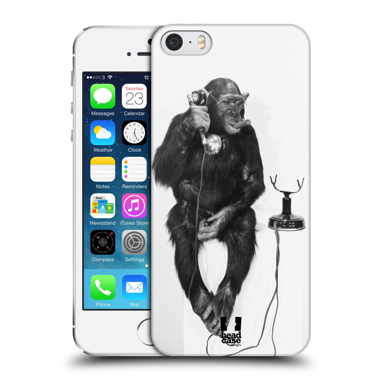 Plastové pouzdro pro mobil Apple Iphone 5 / 5S / SE vzor Legrační zvířátka opička se sluchátkem