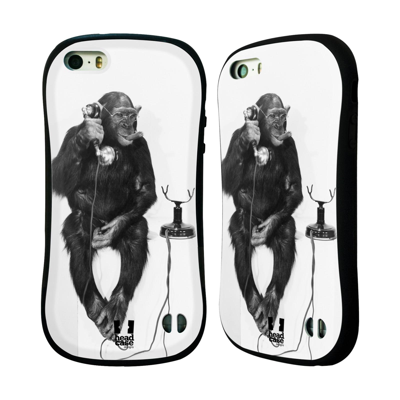 HEAD CASE silikon/plast odolný obal na mobil Apple Iphone 5/5S vzor Legrační zvířátka opička se sluchátkem