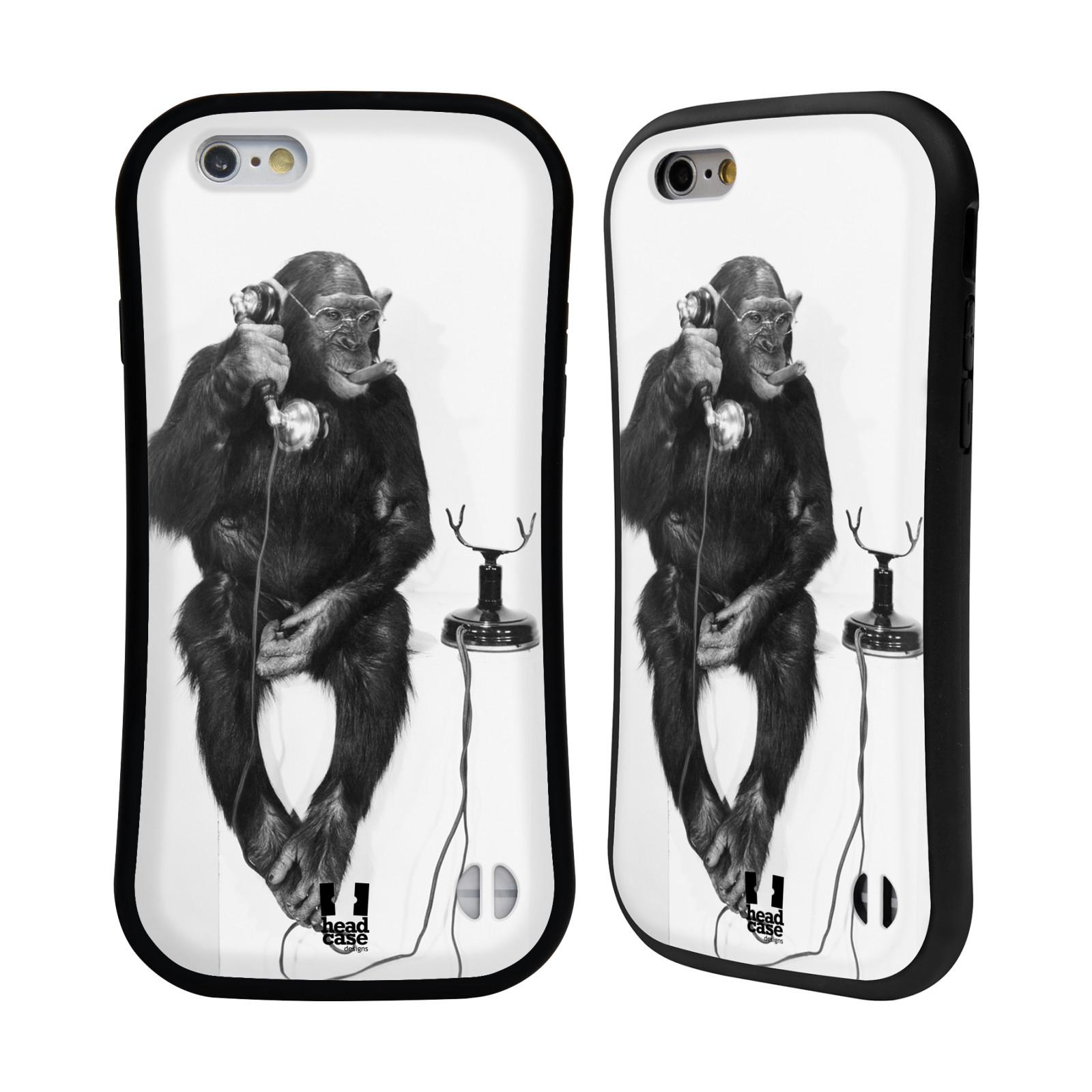 HEAD CASE silikon/plast odolný obal na mobil Apple Iphone 6/6S vzor Legrační zvířátka opička se sluchátkem