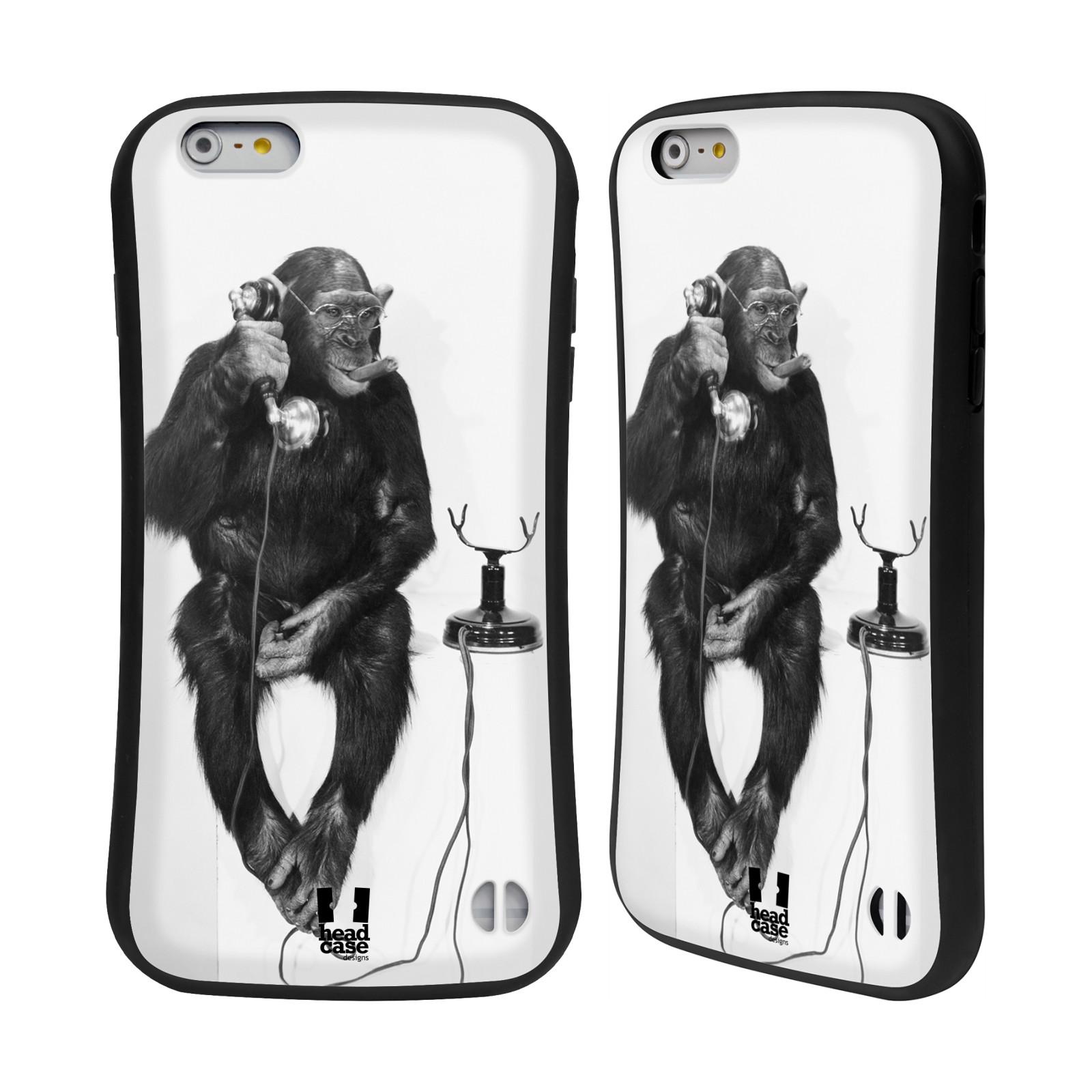 HEAD CASE silikon/plast odolný obal na mobil Apple Iphone 6 PLUS / 6S PLUS vzor Legrační zvířátka opička se sluchátkem