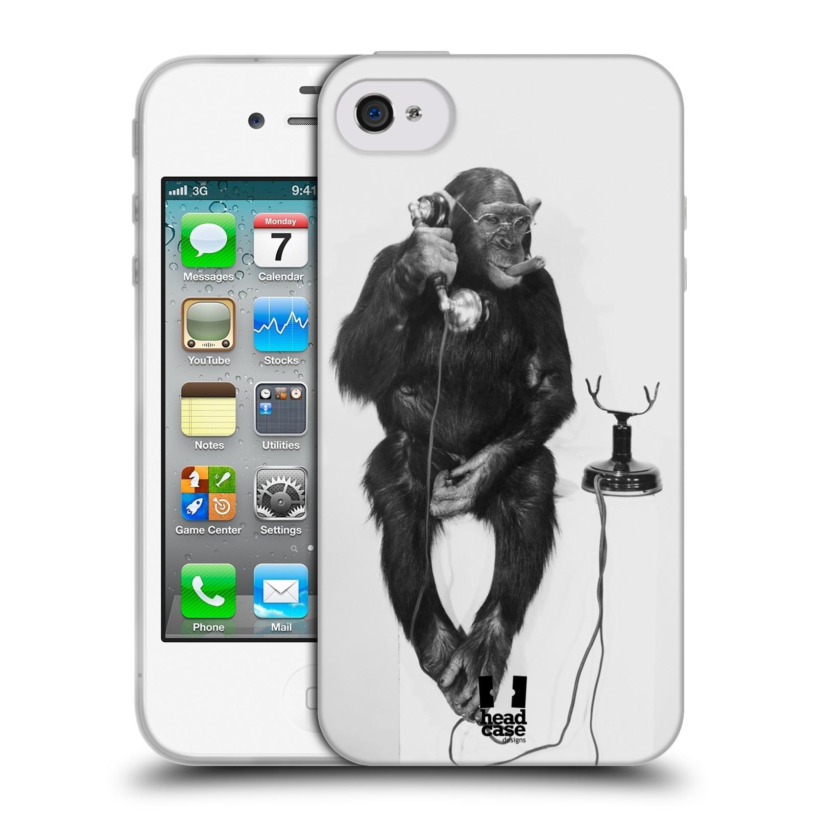 HEAD CASE silikonový obal na mobil Apple Iphone 4/4S vzor Legrační zvířátka opička se sluchátkem