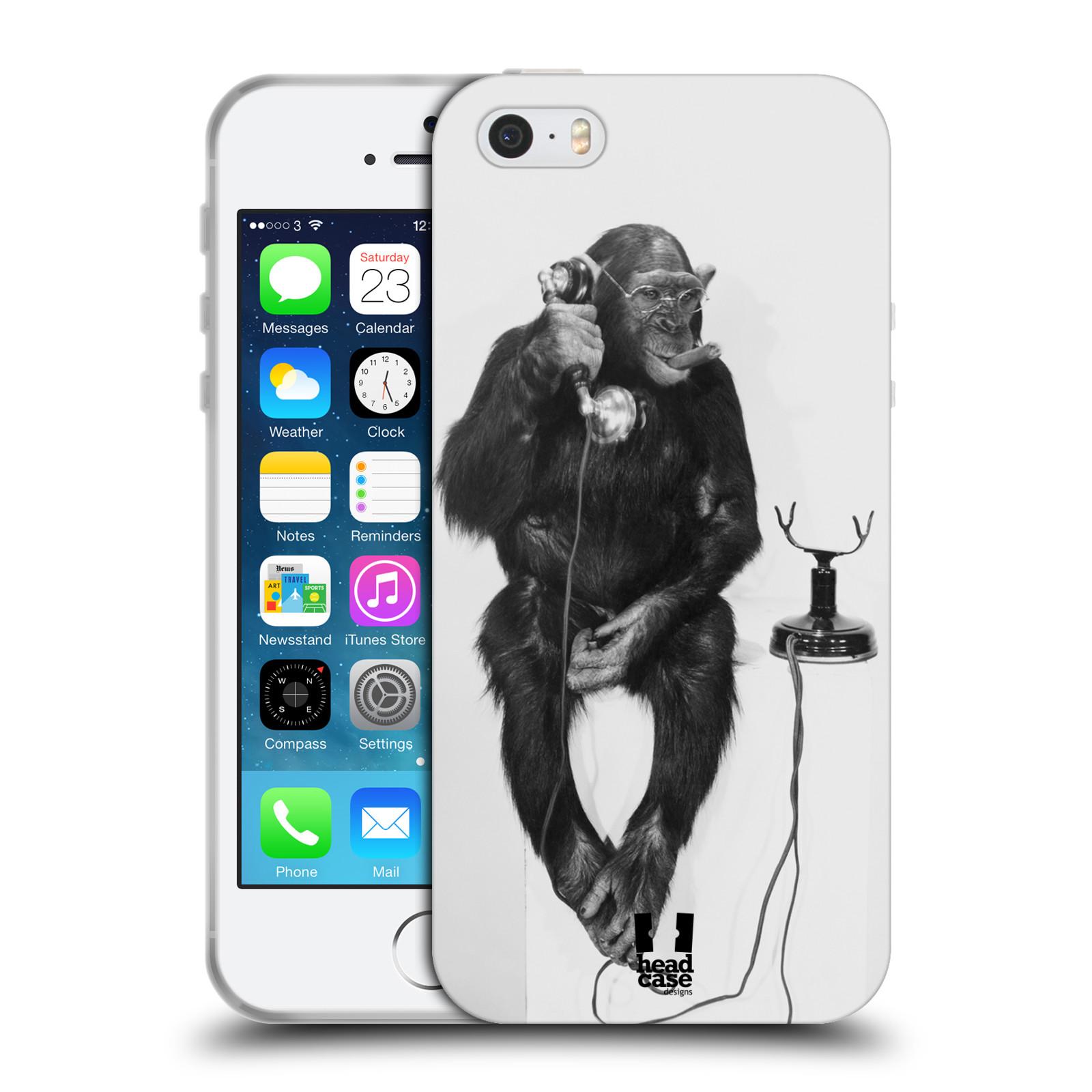 HEAD CASE silikonový obal na mobil Apple Iphone 5/5S vzor Legrační zvířátka opička se sluchátkem