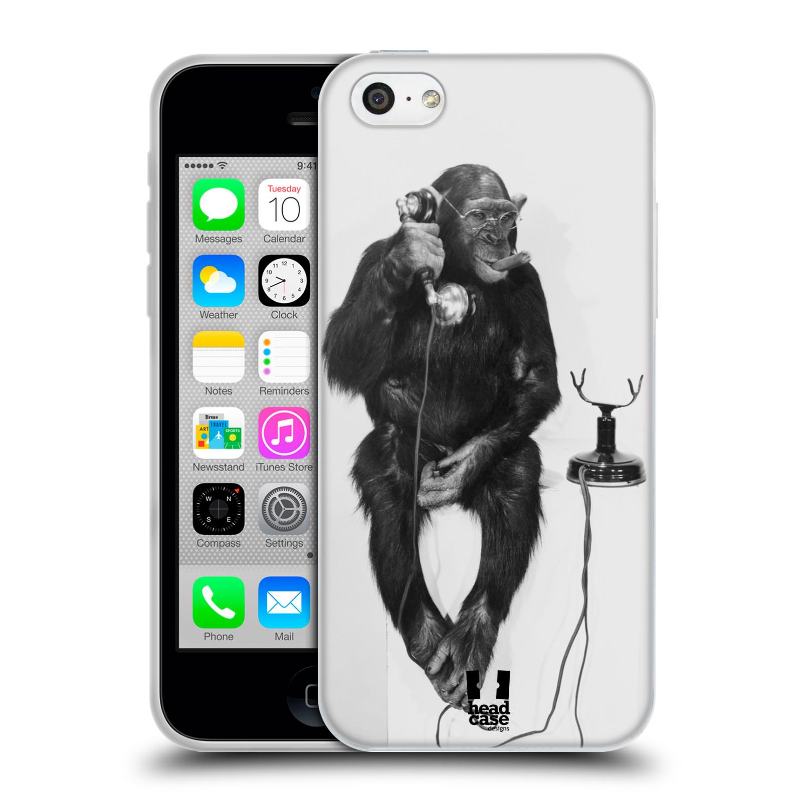 HEAD CASE silikonový obal na mobil Apple Iphone 5C vzor Legrační zvířátka opička se sluchátkem
