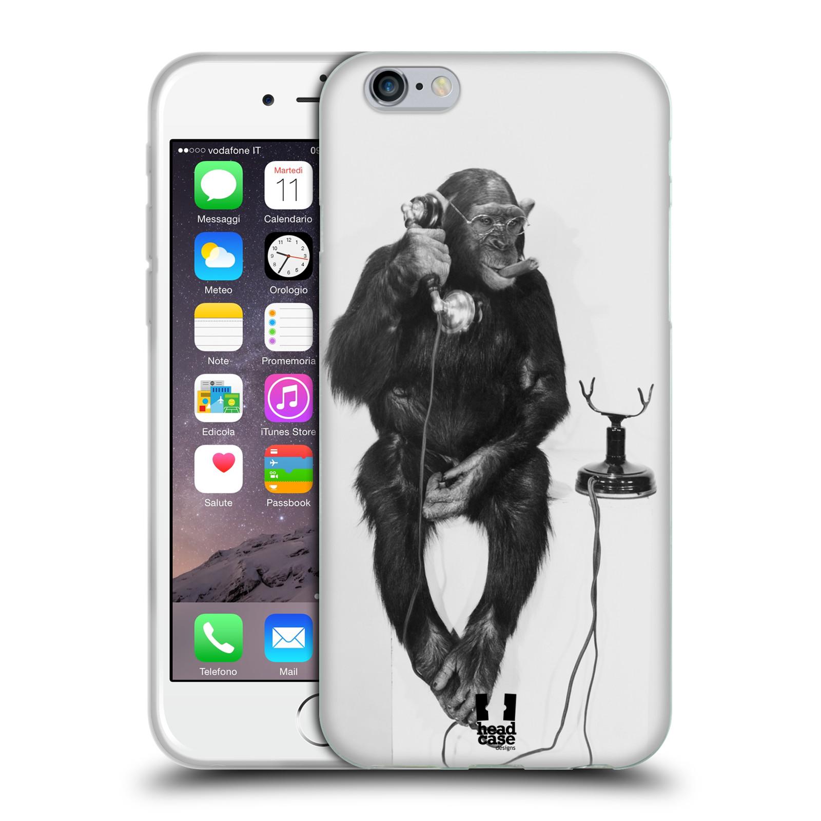 HEAD CASE silikonový obal na mobil Apple Iphone 6/6S vzor Legrační zvířátka opička se sluchátkem