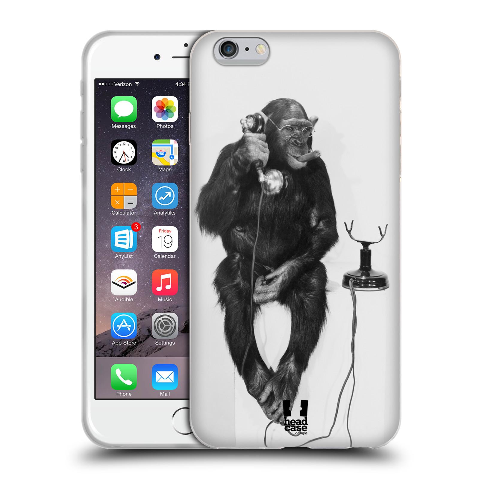 HEAD CASE silikonový obal na mobil Apple Iphone 6 PLUS/ 6S PLUS vzor Legrační zvířátka opička se sluchátkem