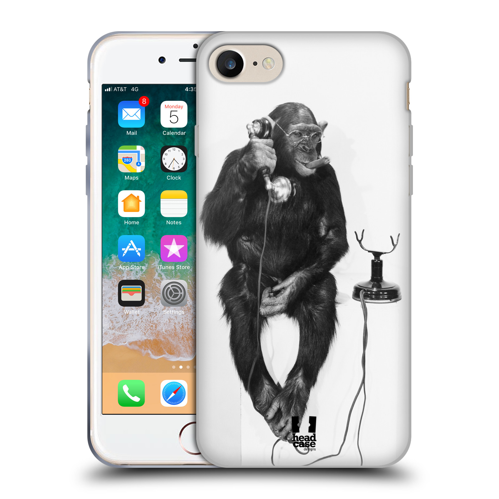 HEAD CASE silikonový obal na mobil Apple Iphone 7 vzor Legrační zvířátka opička se sluchátkem