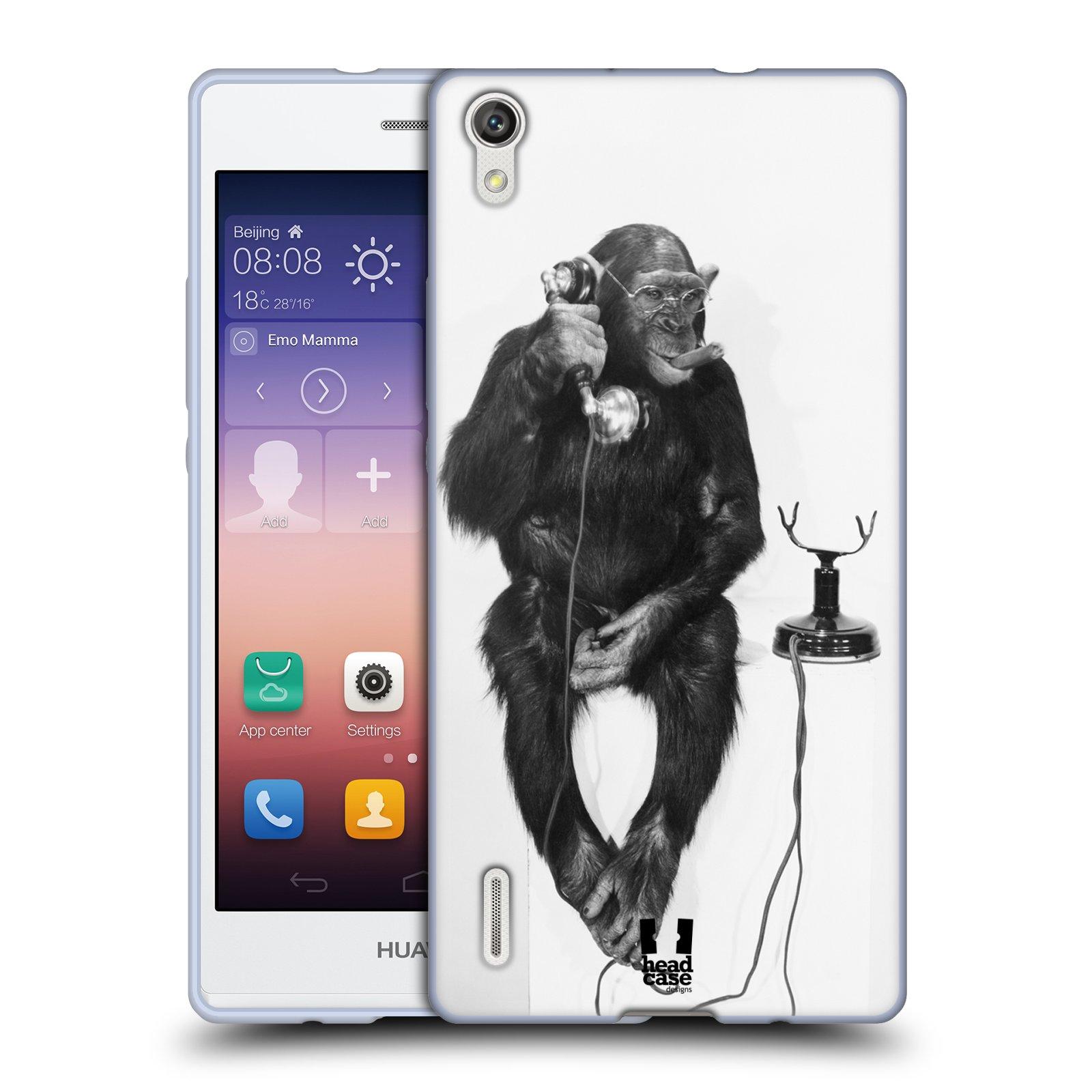 HEAD CASE silikonový obal na mobil HUAWEI Ascend P7 vzor Legrační zvířátka opička se sluchátkem
