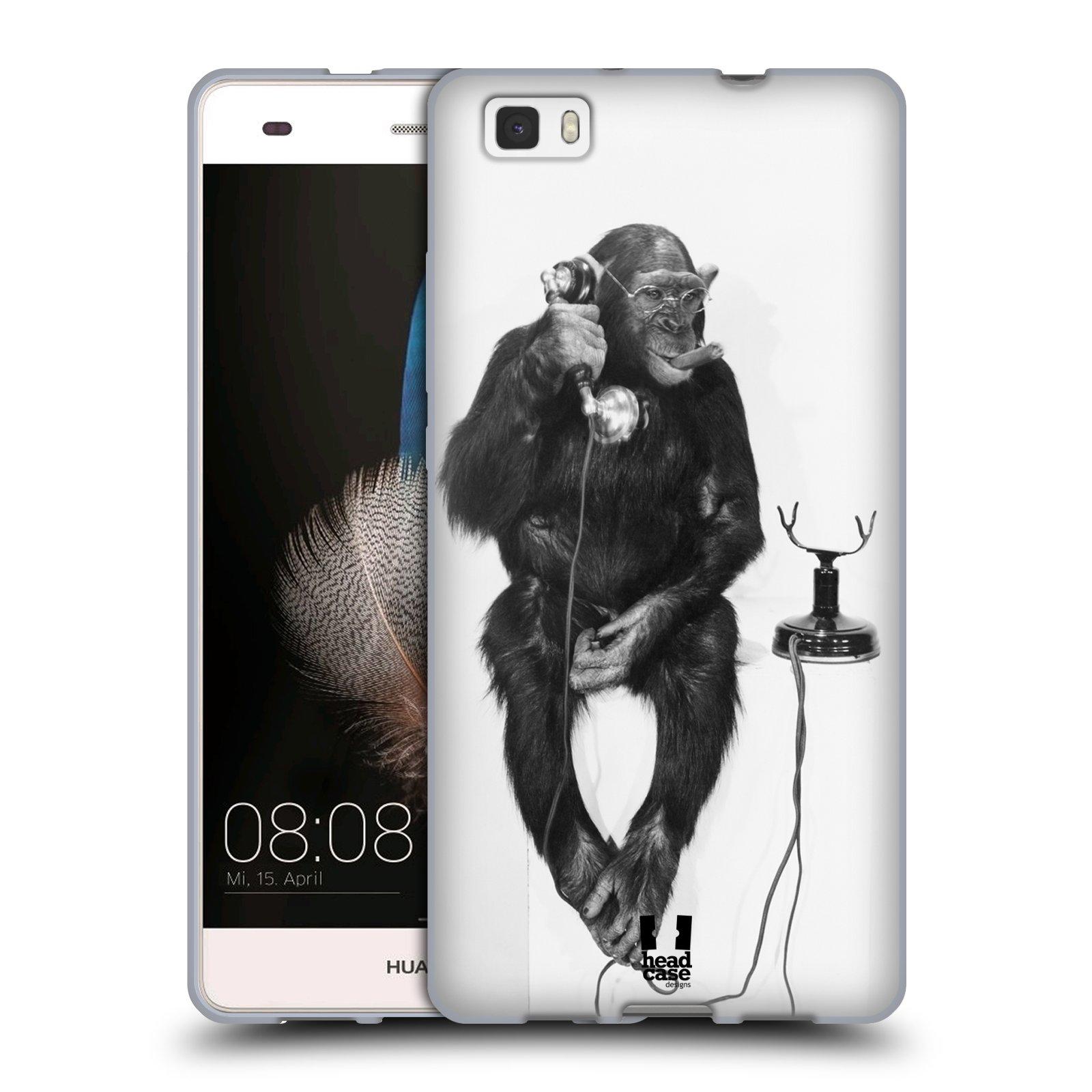 HEAD CASE silikonový obal na mobil Huawei  P8 LITE Legrační zvířátka opička a telefon