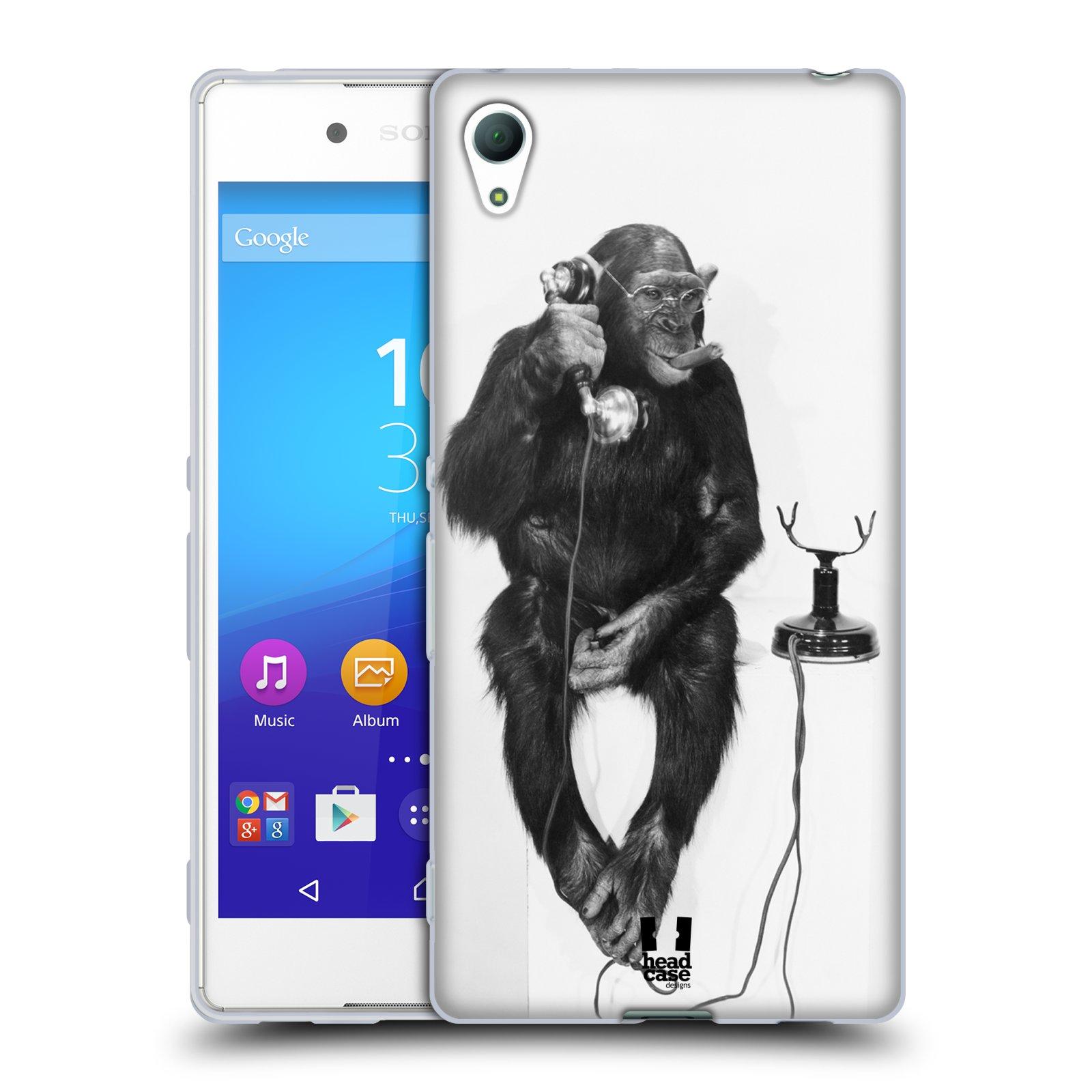 HEAD CASE silikonový obal na mobil Sony Xperia Z3 + (PLUS) vzor Legrační zvířátka opička se sluchátkem