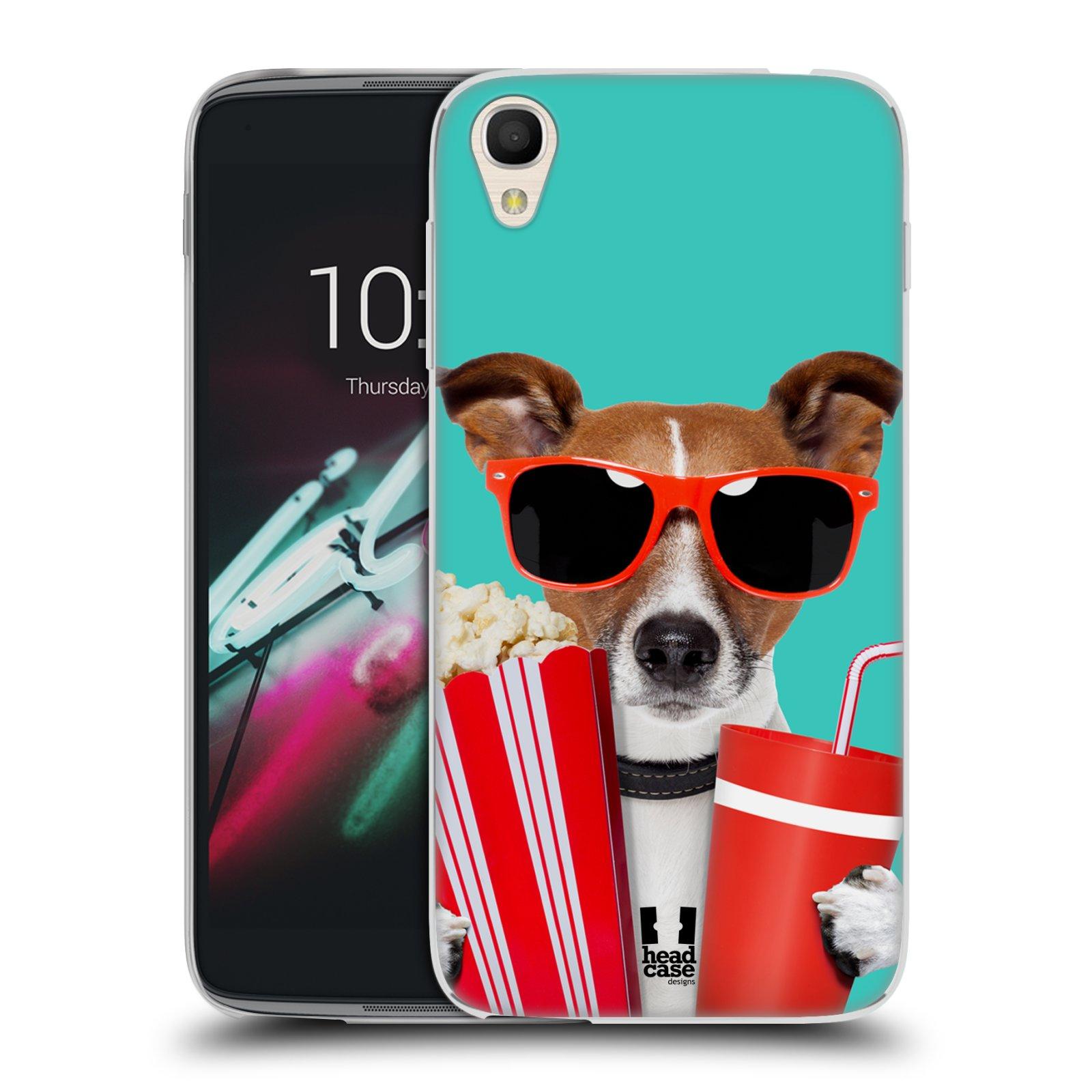 HEAD CASE silikonový obal na mobil Alcatel Idol 3 OT-6039Y (4.7) vzor Legrační zvířátka pejsek v kině s popkornem