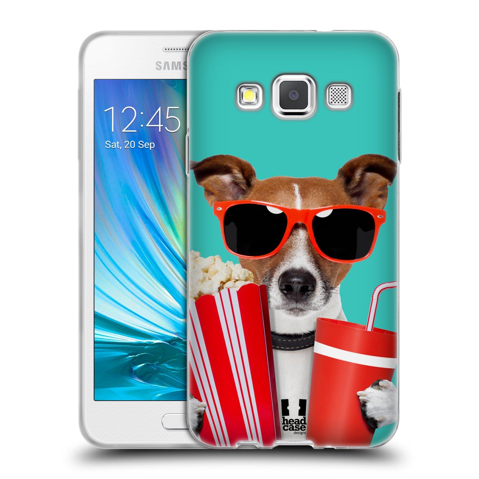 HEAD CASE silikonový obal na mobil Samsung Galaxy A3 vzor Legrační zvířátka pejsek v kině s popkornem