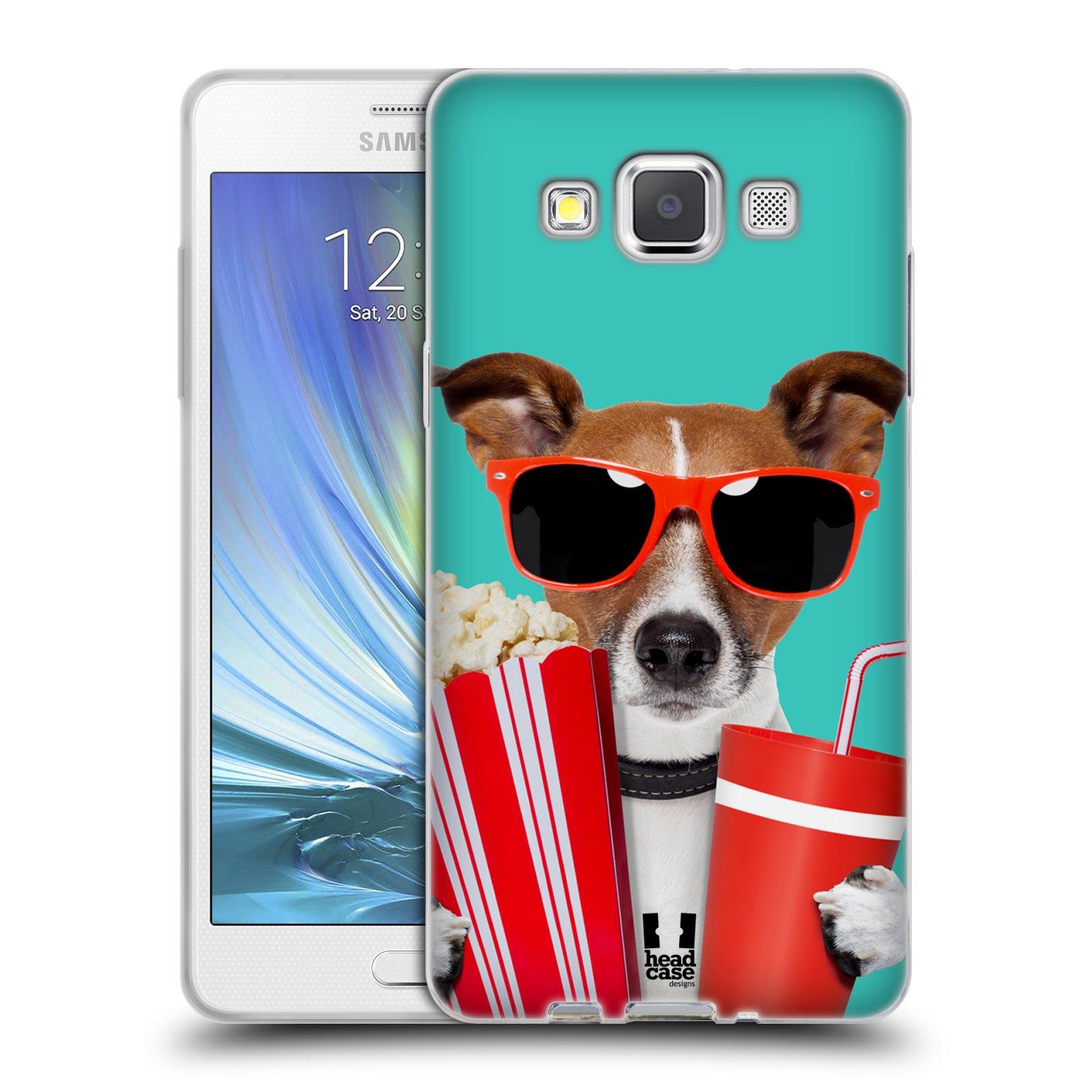 HEAD CASE silikonový obal na mobil Samsung Galaxy A5 vzor Legrační zvířátka pejsek v kině s popkornem