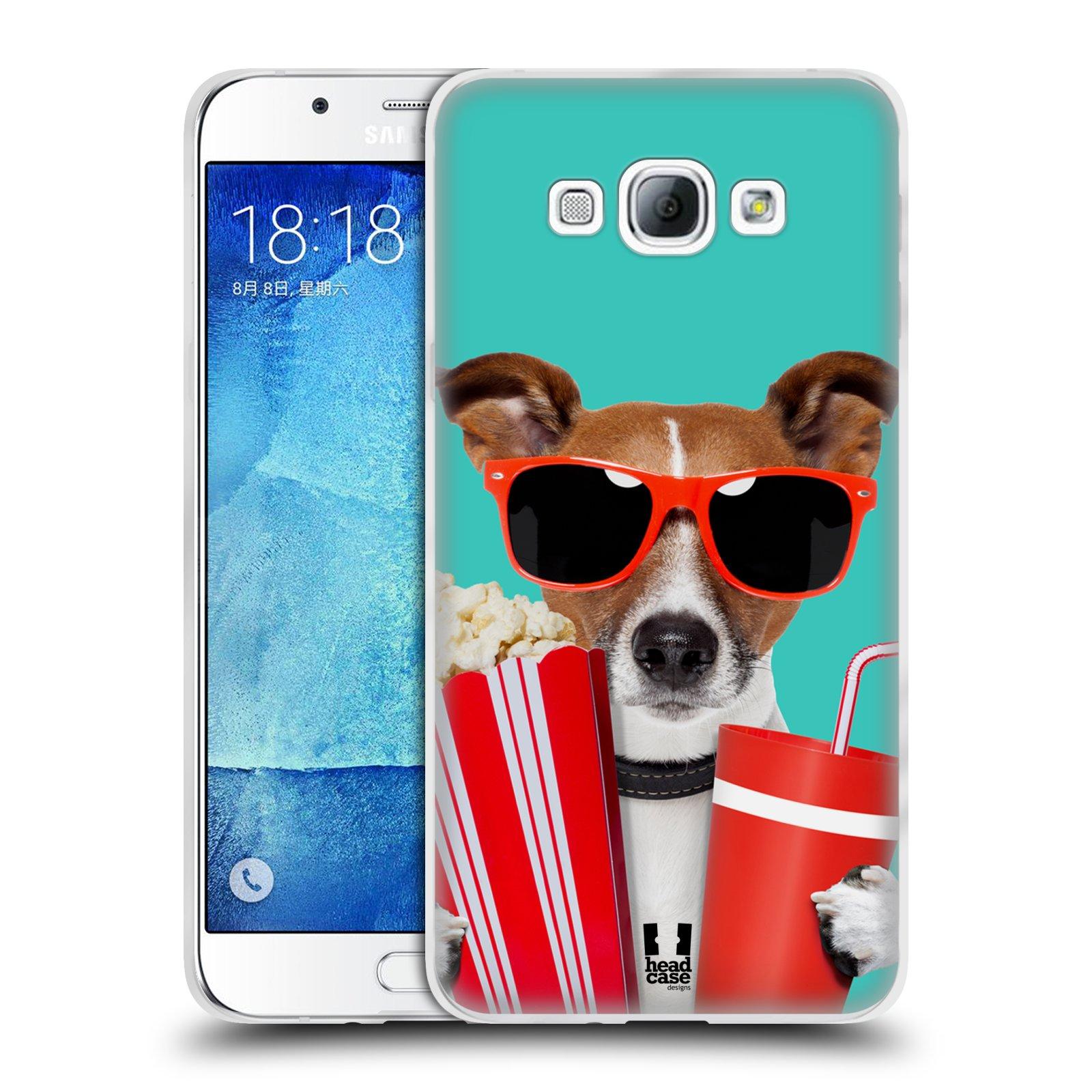 HEAD CASE silikonový obal na mobil Samsung Galaxy A8 vzor Legrační zvířátka pejsek v kině s popkornem