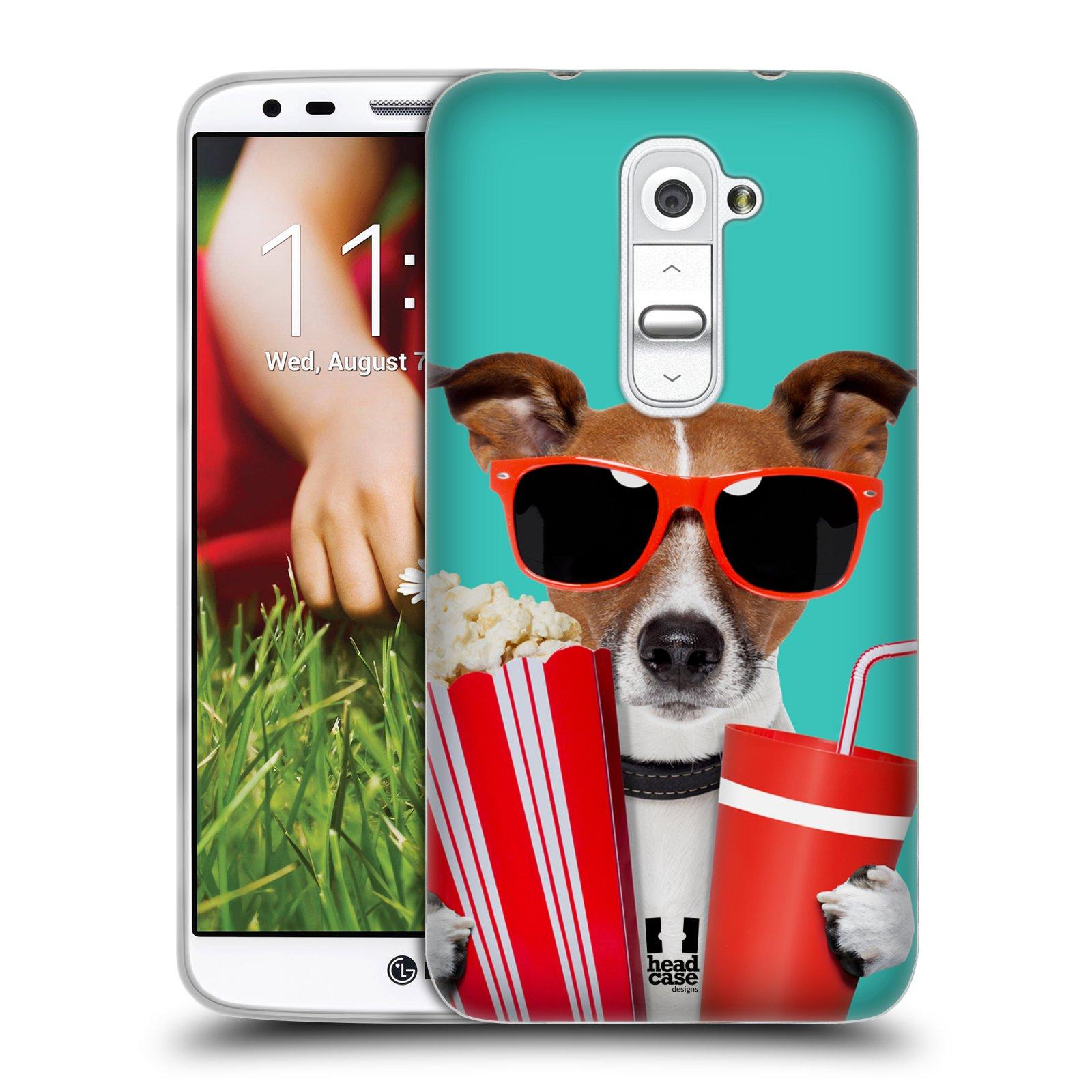 HEAD CASE silikonový obal na mobil LG G2 vzor Legrační zvířátka pejsek v kině s popkornem