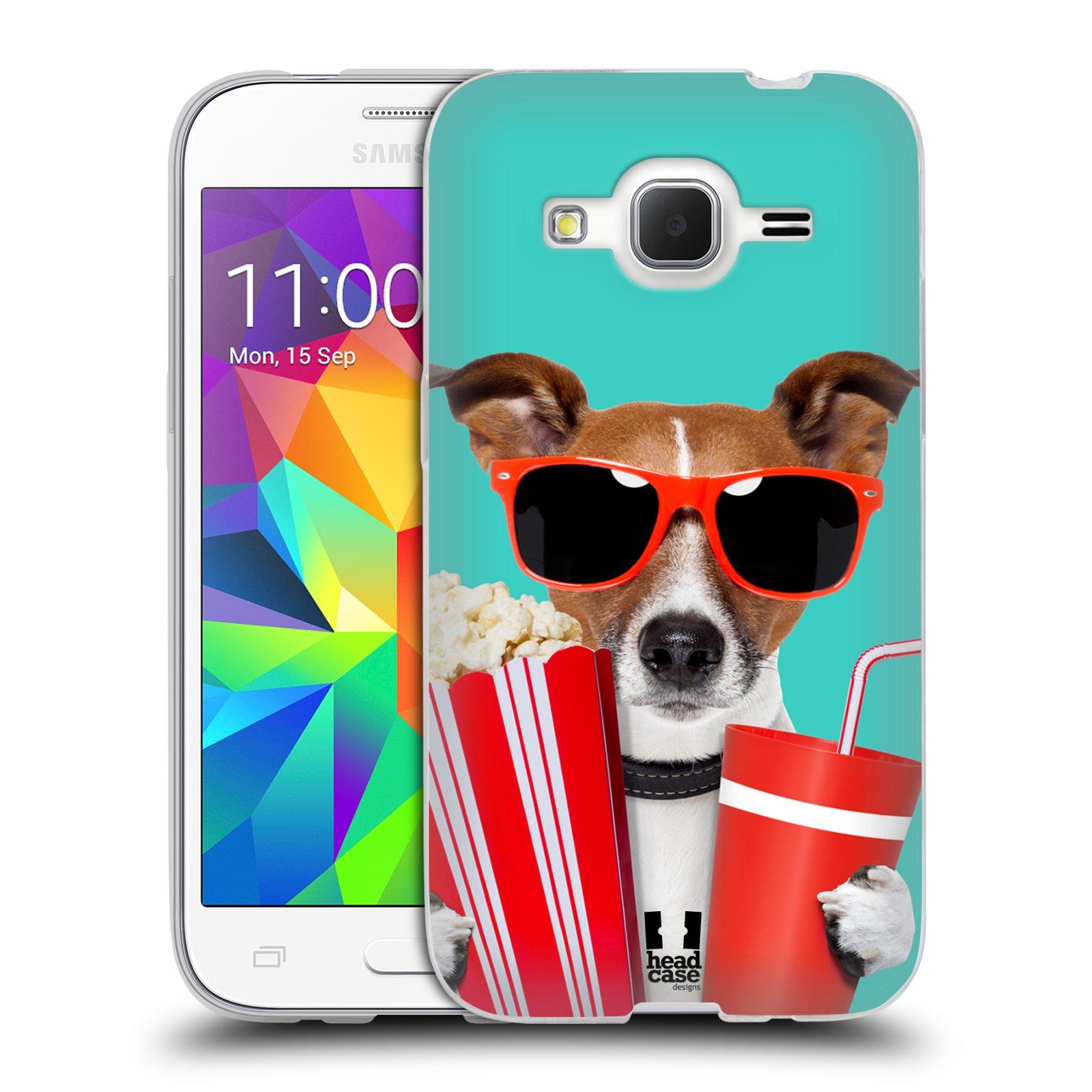 HEAD CASE silikonový obal na mobil Samsung Galaxy Core Prime (G360) vzor Legrační zvířátka pejsek v kině s popkornem