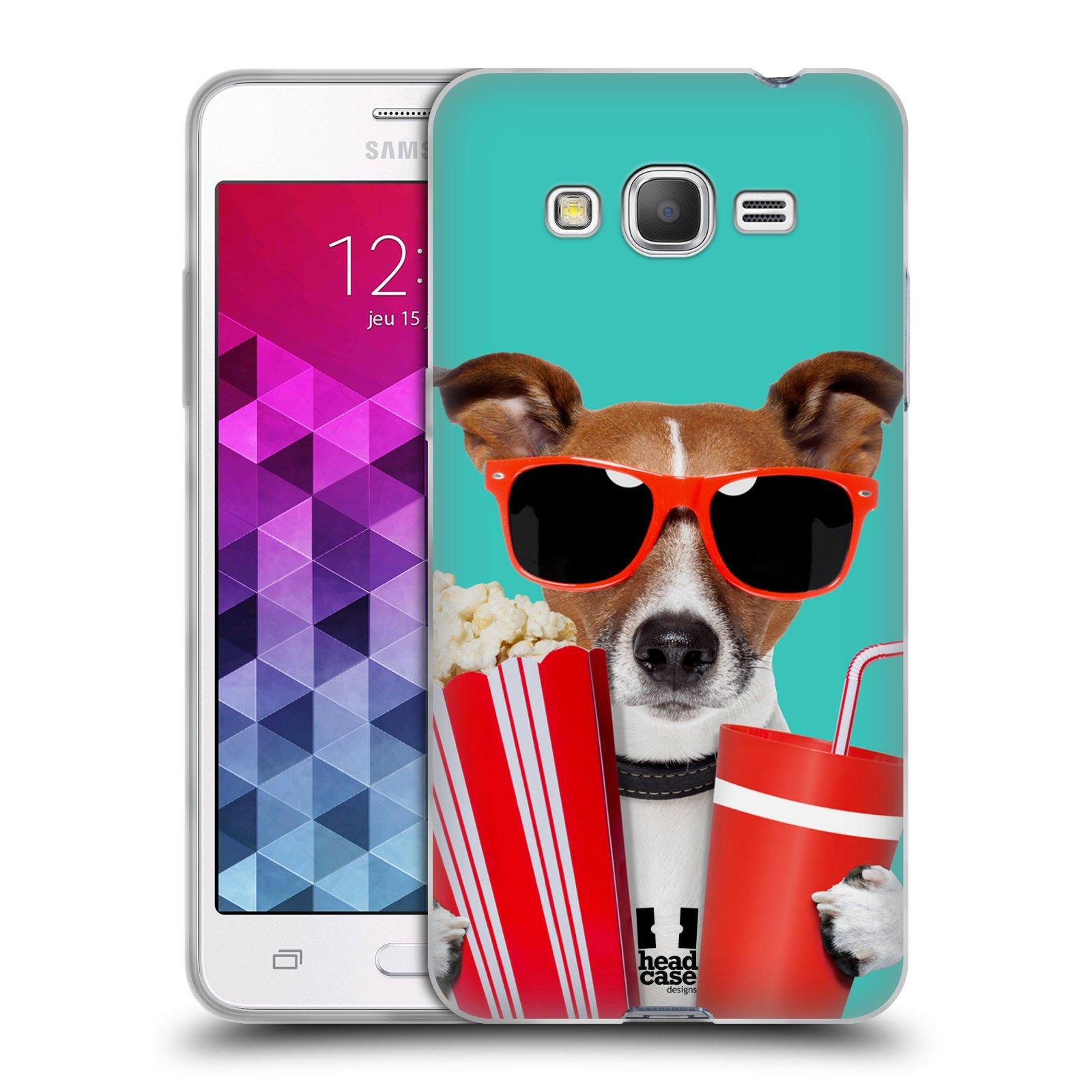 HEAD CASE silikonový obal na mobil Samsung Galaxy GRAND PRIME vzor Legrační zvířátka pejsek v kině s popkornem