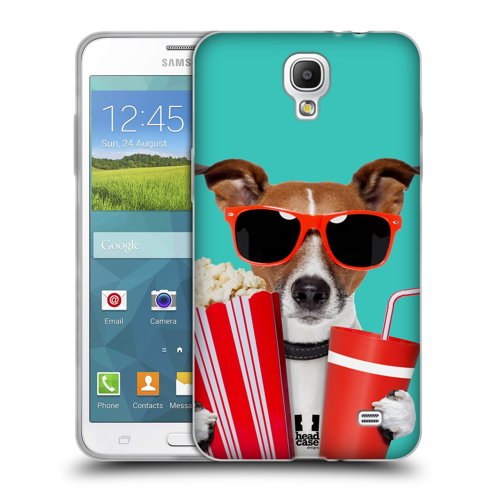 HEAD CASE silikonový obal na mobil Samsung Galaxy Mega 2 vzor Legrační zvířátka pejsek v kině s popkornem