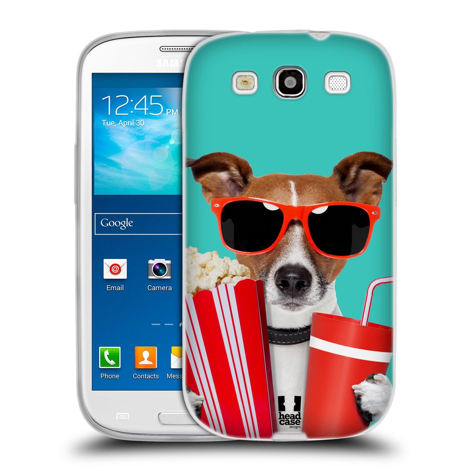 HEAD CASE silikonový obal na mobil Samsung Galaxy S3 i9300 vzor Legrační zvířátka pejsek v kině s popkornem