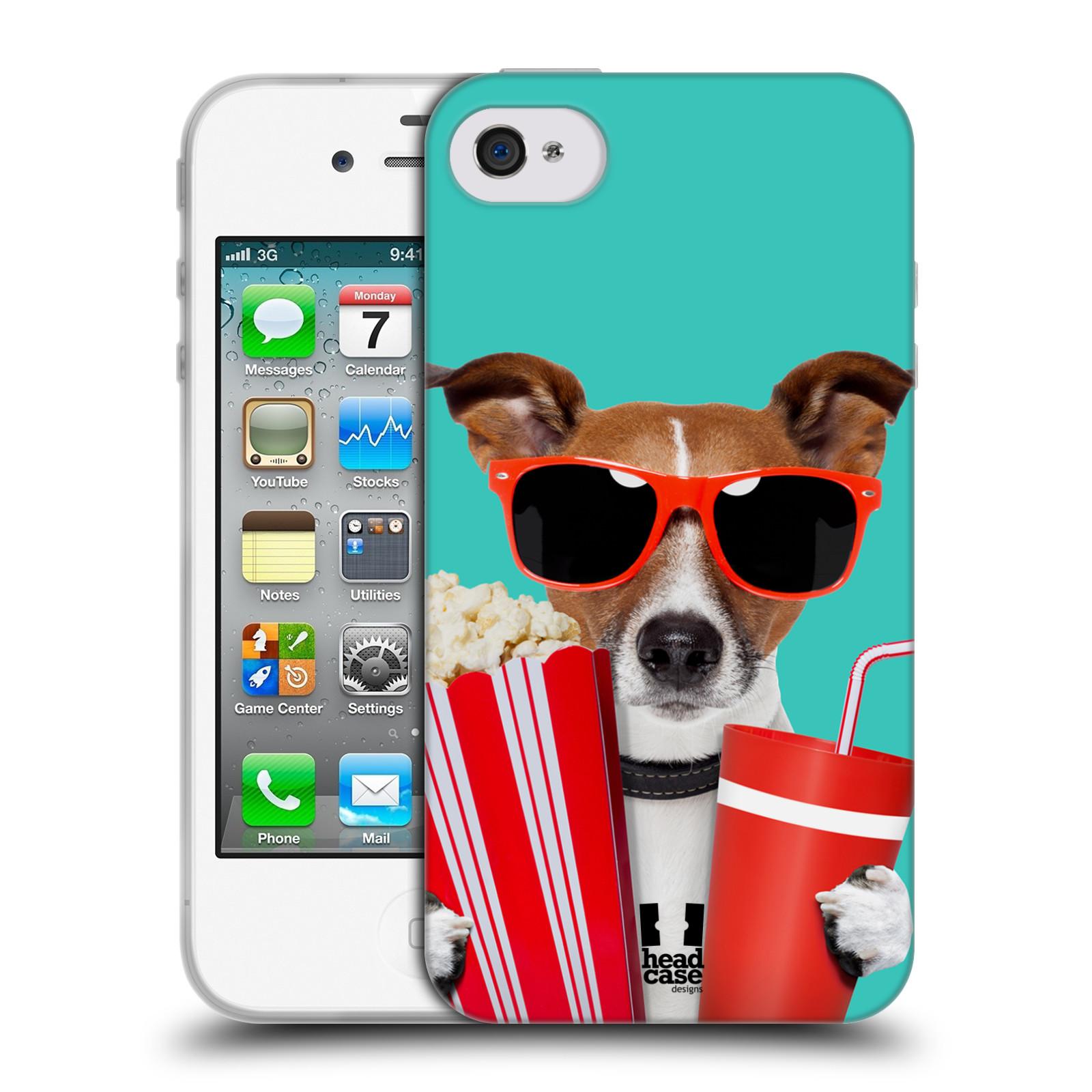 HEAD CASE silikonový obal na mobil Apple Iphone 4/4S vzor Legrační zvířátka pejsek v kině s popkornem
