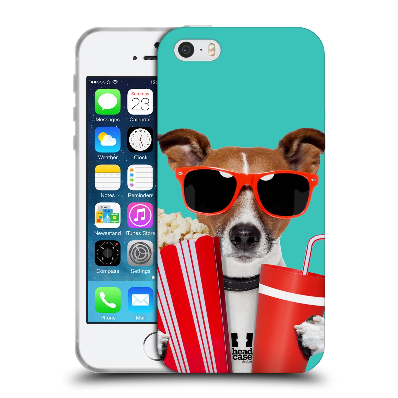 HEAD CASE silikonový obal na mobil Apple Iphone 5/5S vzor Legrační zvířátka pejsek v kině s popkornem