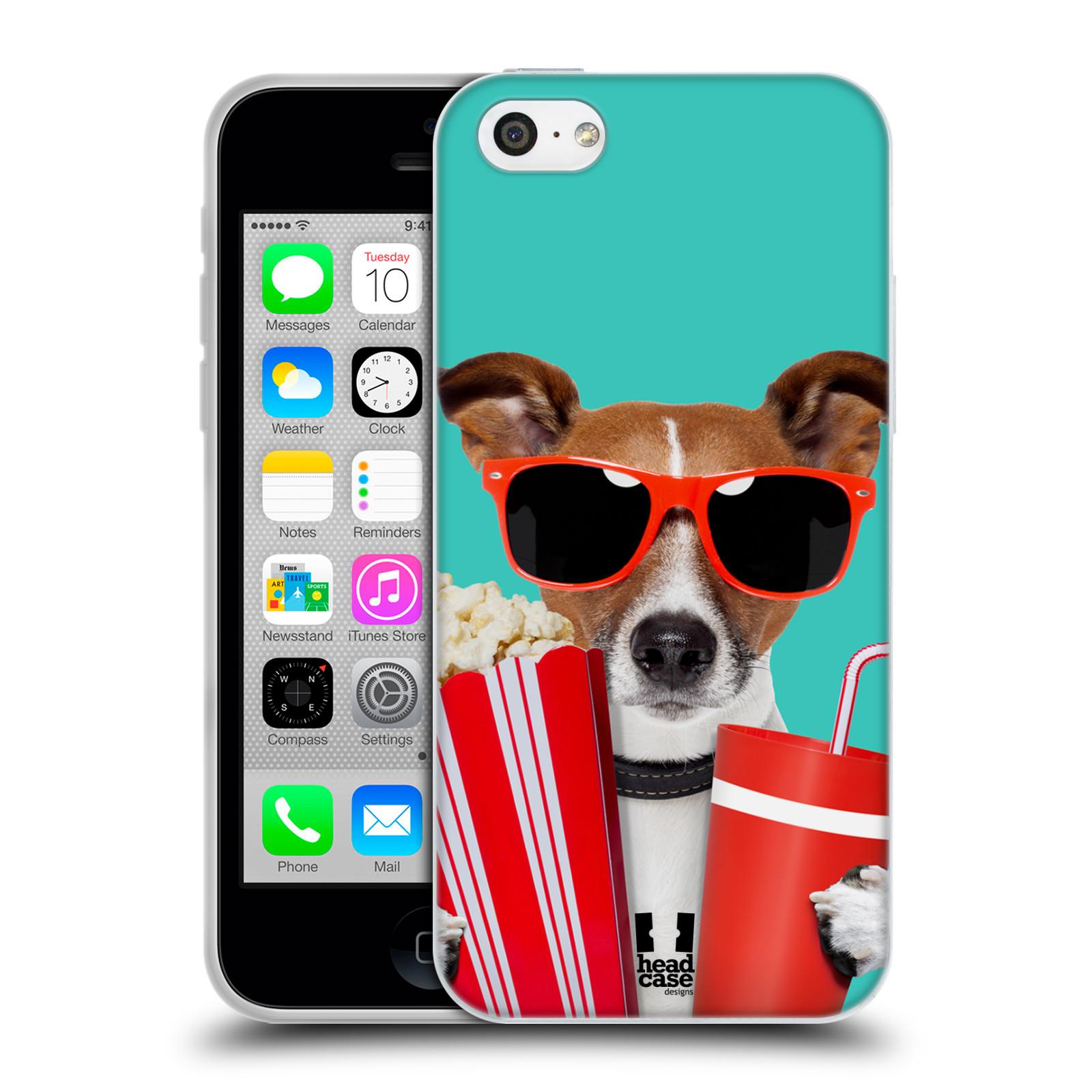 HEAD CASE silikonový obal na mobil Apple Iphone 5C vzor Legrační zvířátka pejsek v kině s popkornem