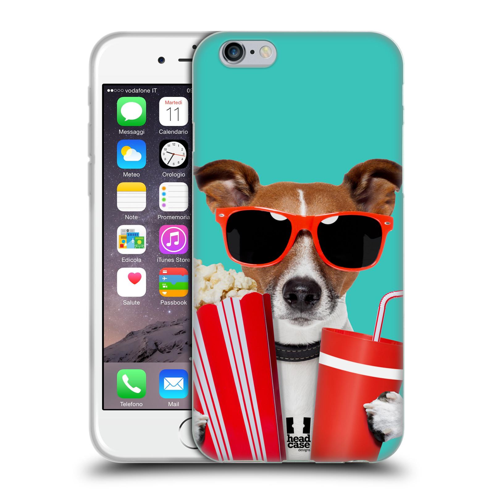 HEAD CASE silikonový obal na mobil Apple Iphone 6/6S vzor Legrační zvířátka pejsek v kině s popkornem