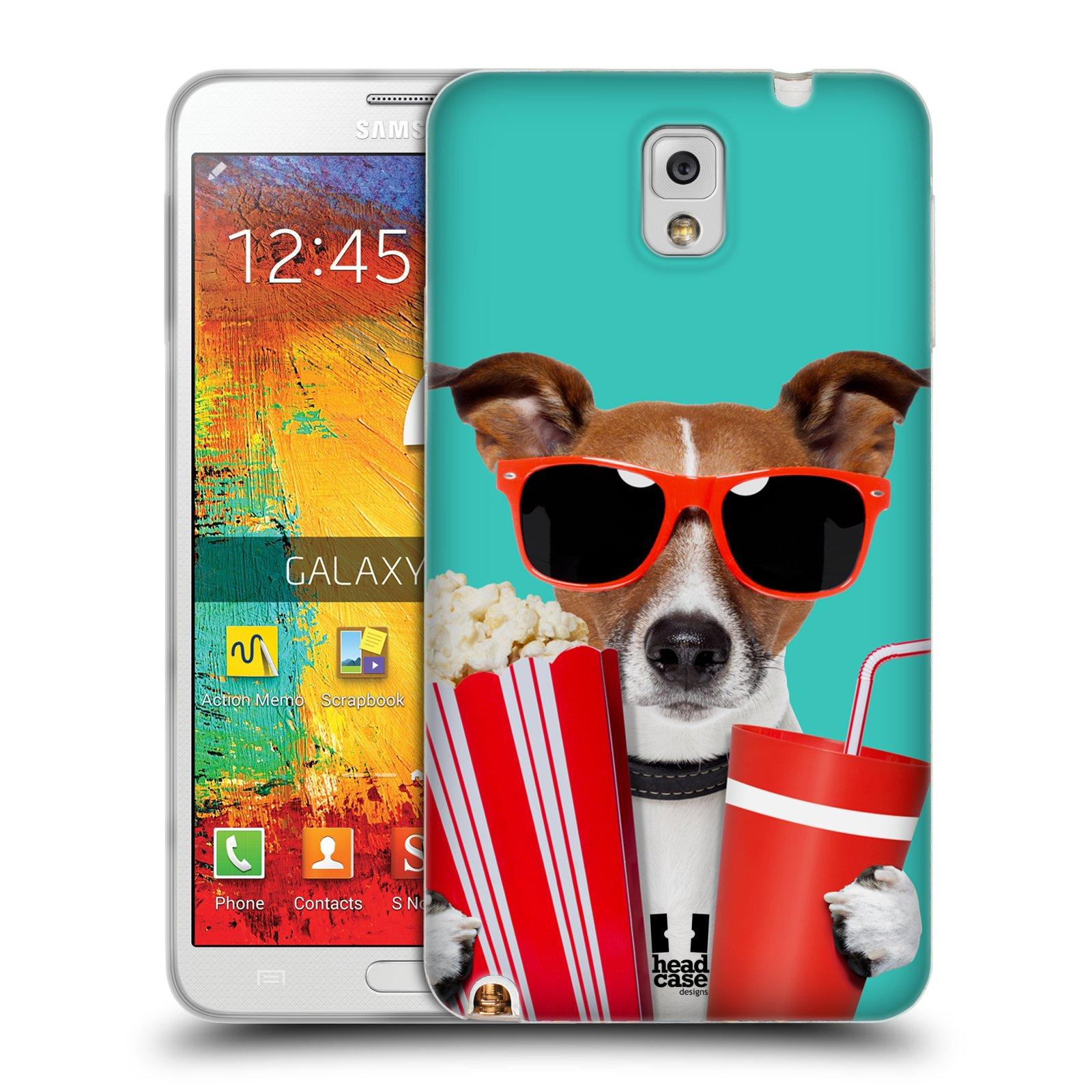 HEAD CASE silikonový obal na mobil Samsung Galaxy Note 3 (N9005) vzor Legrační zvířátka pejsek v kině s popkornem
