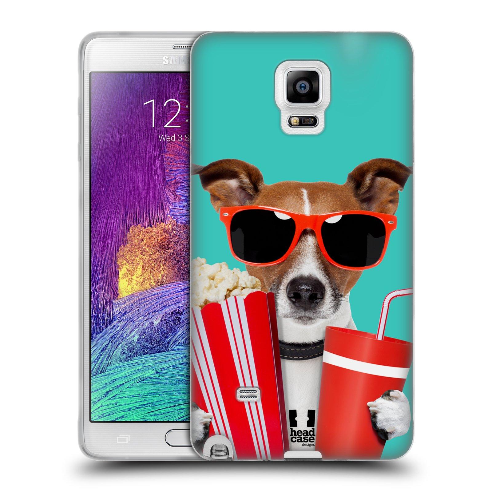 HEAD CASE silikonový obal na mobil Samsung Galaxy Note 4 (N910) vzor Legrační zvířátka pejsek v kině s popkornem