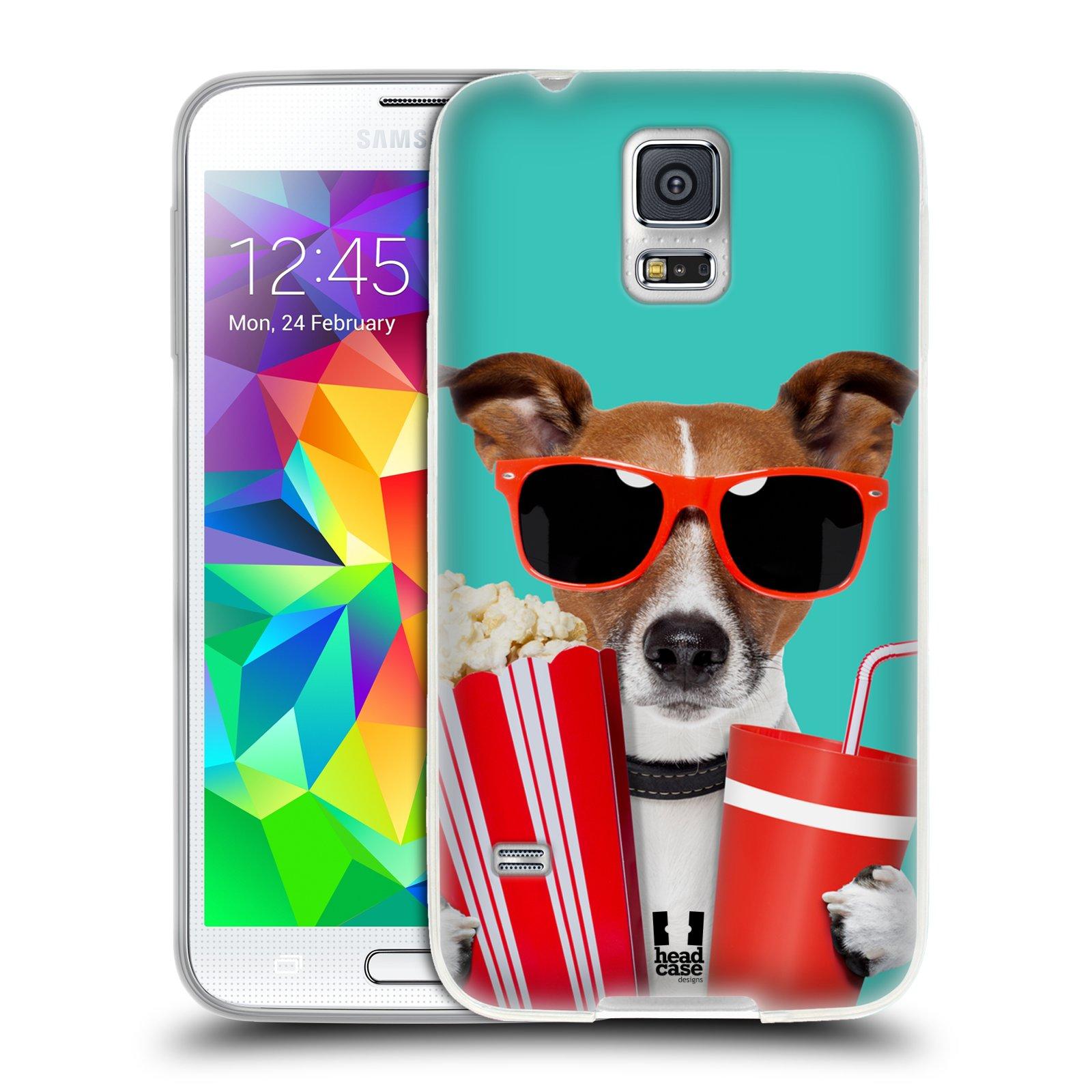 HEAD CASE silikonový obal na mobil Samsung Galaxy S5/S5 NEO vzor Legrační zvířátka pejsek v kině s popkornem
