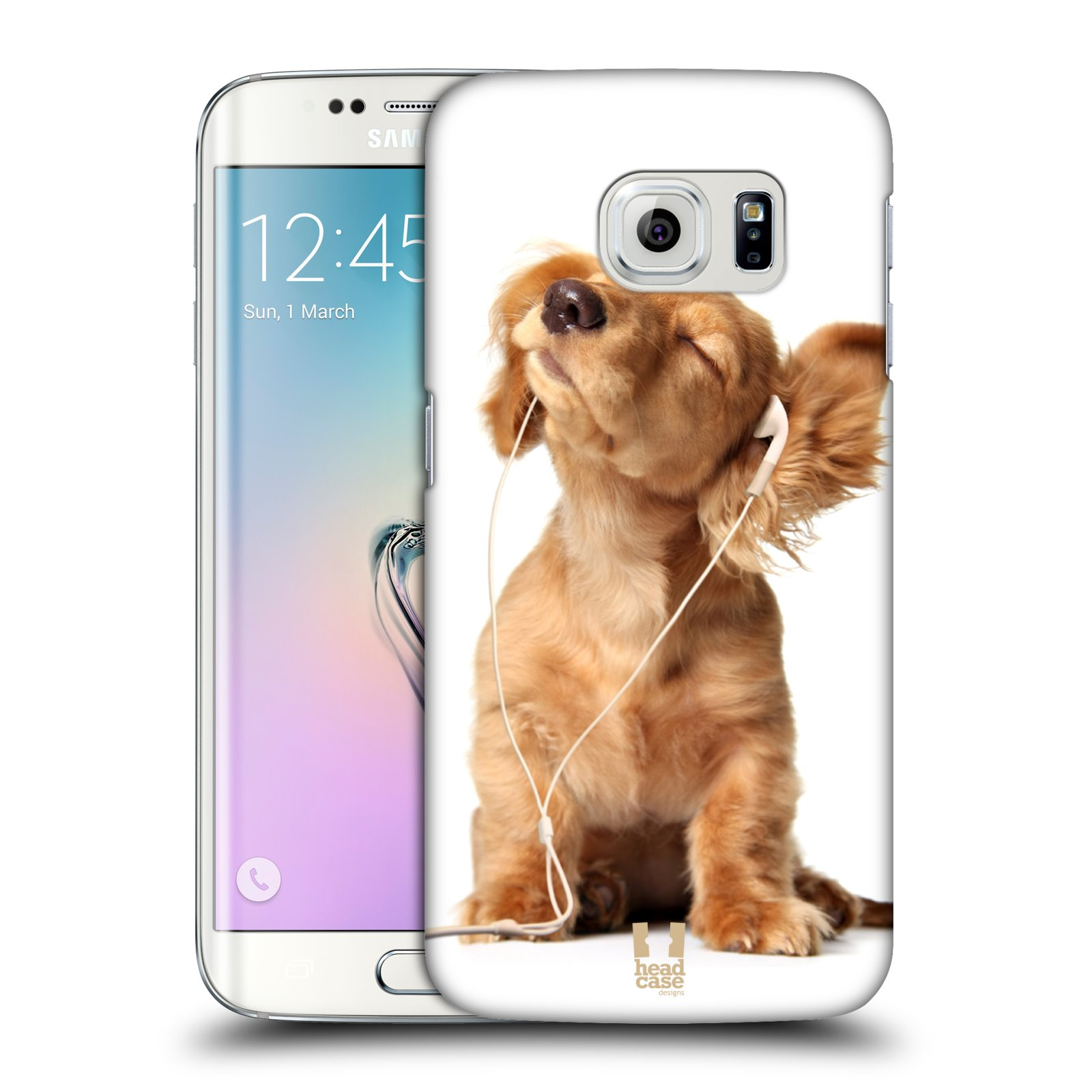 HEAD CASE plastový obal na mobil SAMSUNG Galaxy S6 EDGE (G9250, G925, G925F) vzor Legrační zvířátka roztomilé štěňátko se sluchátky MUSIC