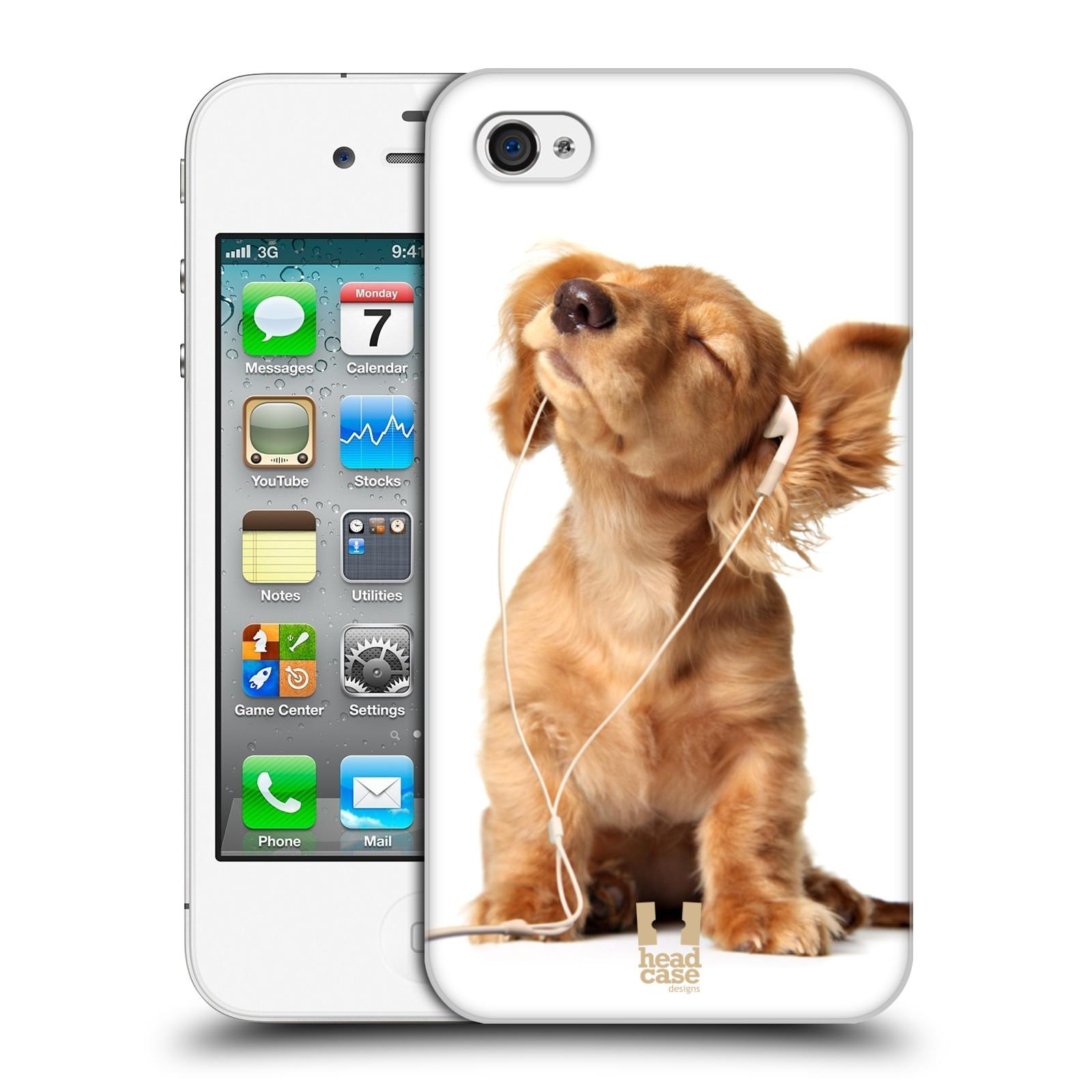 HEAD CASE plastový obal na mobil Apple Iphone 4/4S vzor Legrační zvířátka roztomilé štěňátko se sluchátky MUSIC