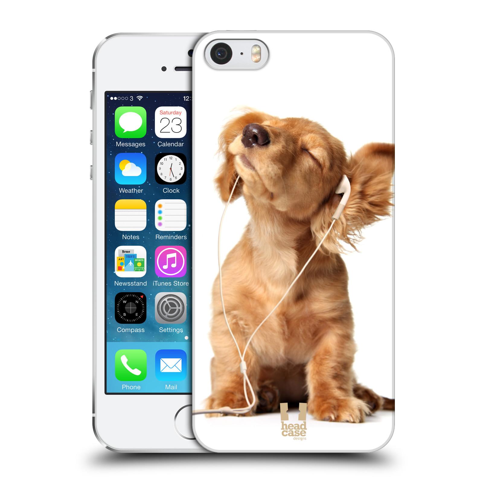Plastové pouzdro pro mobil Apple Iphone 5 / 5S / SE vzor Legrační zvířátka roztomilé štěňátko se sluchátky MUSIC