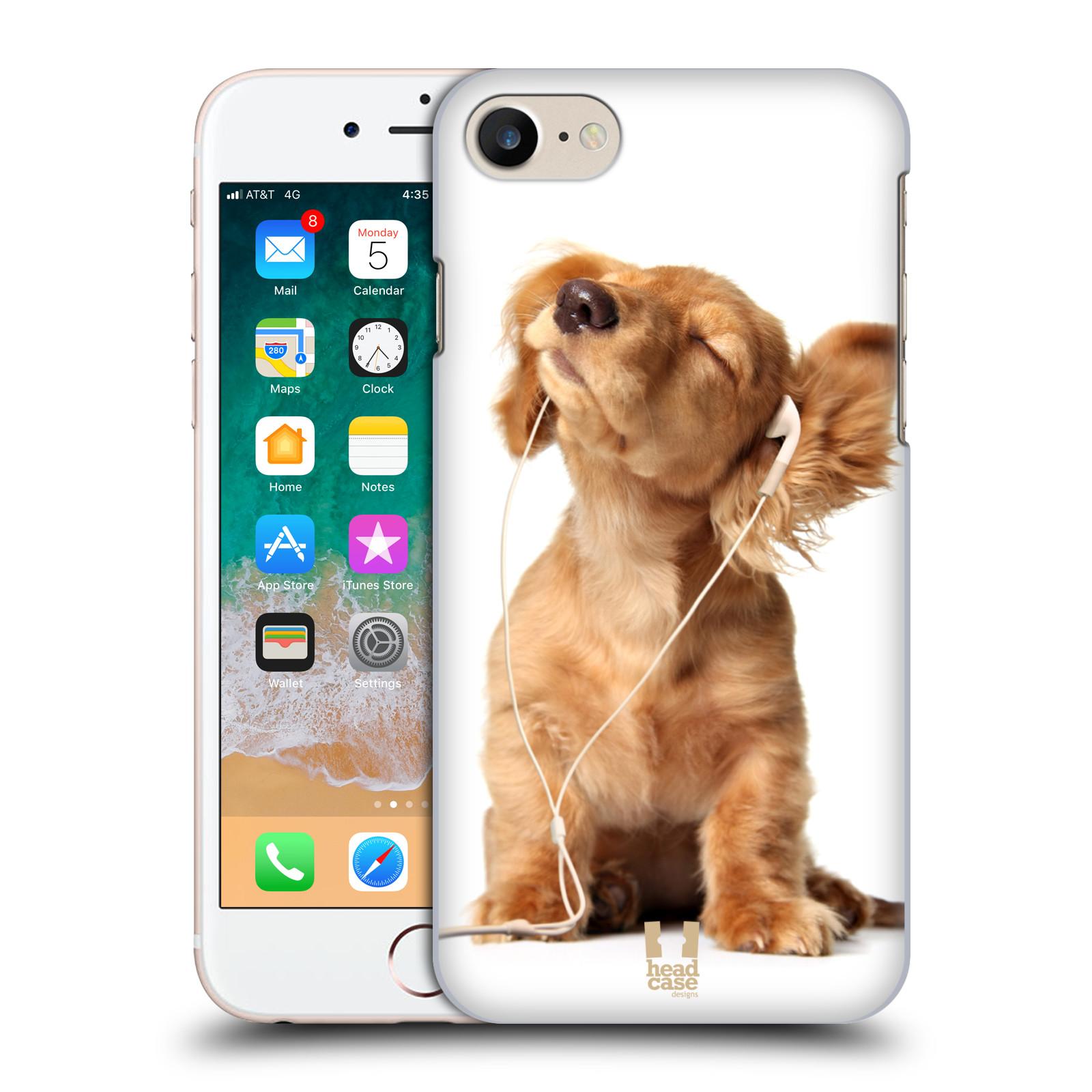 HEAD CASE plastový obal na mobil Apple Iphone 7 vzor Legrační zvířátka roztomilé štěňátko se sluchátky MUSIC