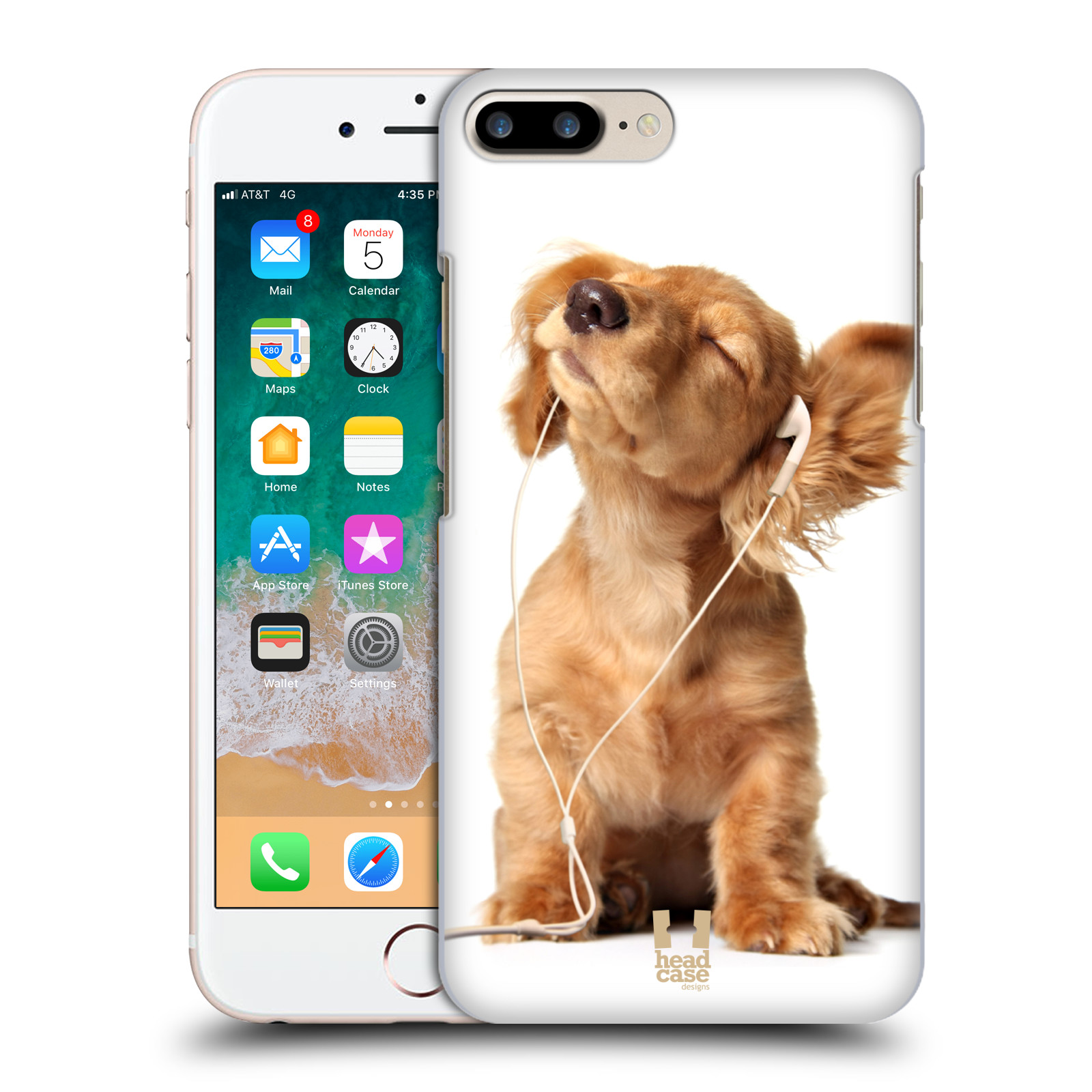 HEAD CASE plastový obal na mobil Apple Iphone 7 PLUS vzor Legrační zvířátka roztomilé štěňátko se sluchátky MUSIC