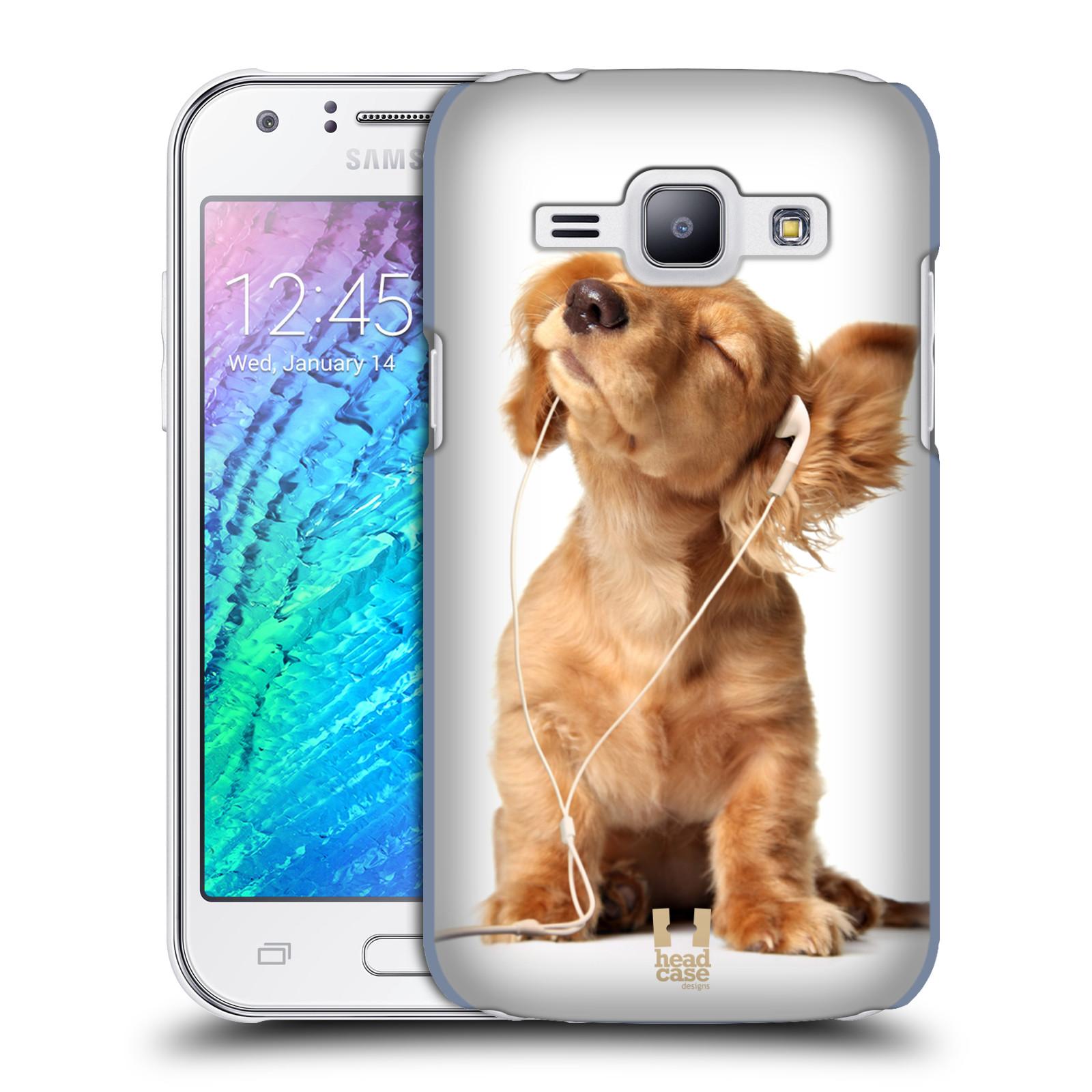 HEAD CASE plastový obal na mobil SAMSUNG Galaxy J1, J100 vzor Legrační zvířátka roztomilé štěňátko se sluchátky MUSIC
