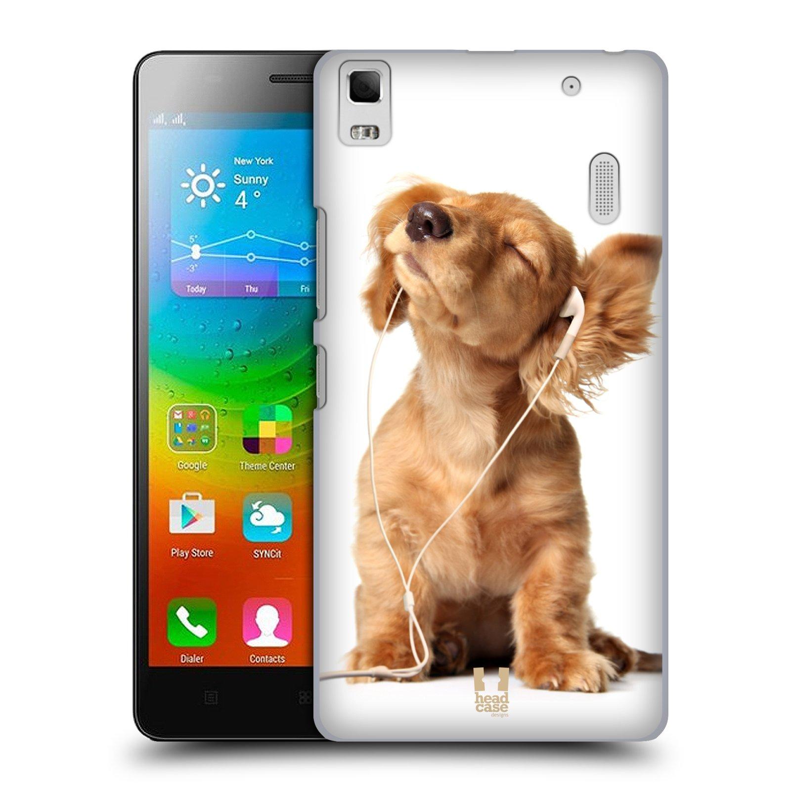 HEAD CASE pevný plastový obal na mobil LENOVO A7000 / A7000 DUAL / K3 NOTE vzor Legrační zvířátka roztomilé štěňátko se sluchátky MUSIC