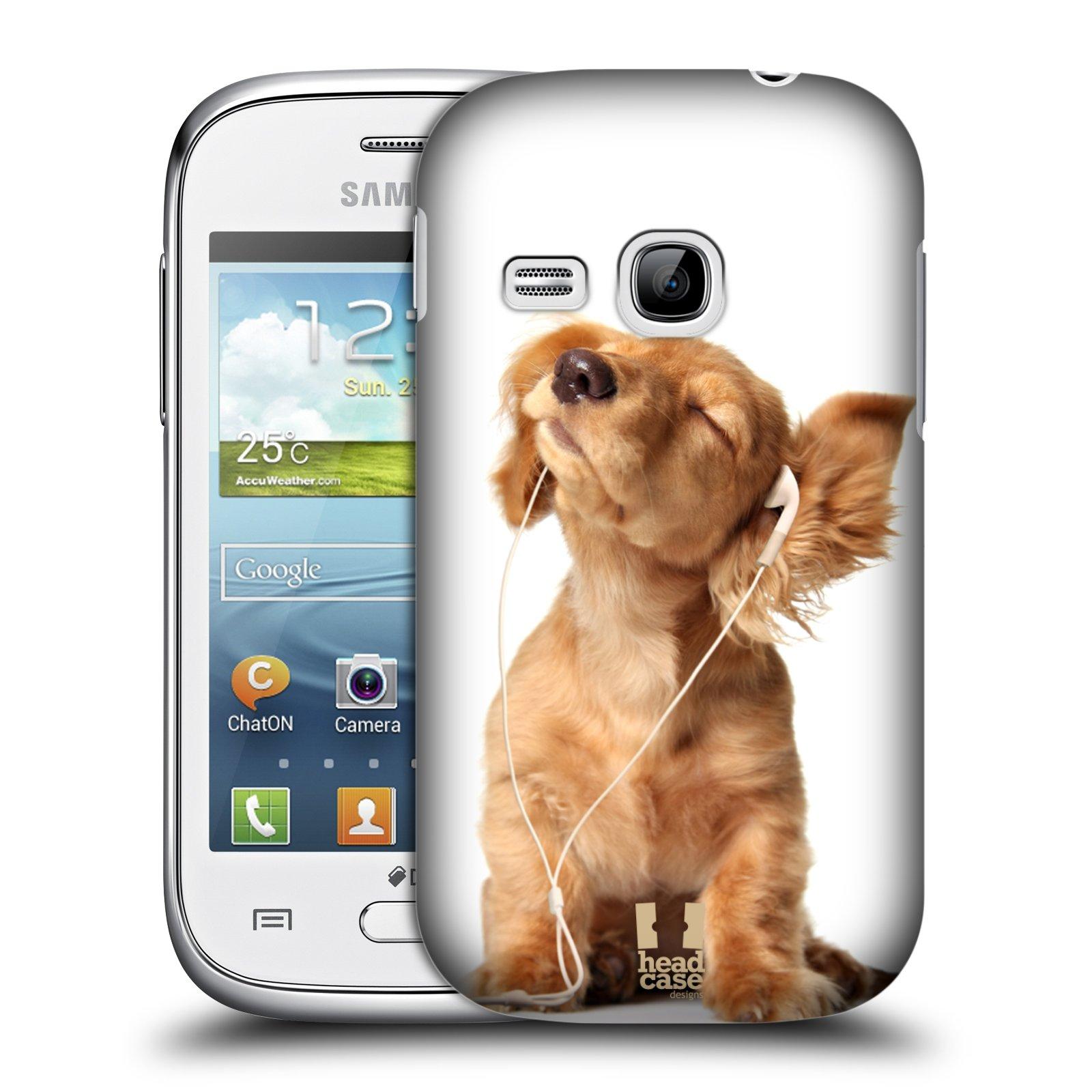 HEAD CASE plastový obal na mobil SAMSUNG Galaxy Young S6310 vzor Legrační zvířátka roztomilé štěňátko se sluchátky MUSIC