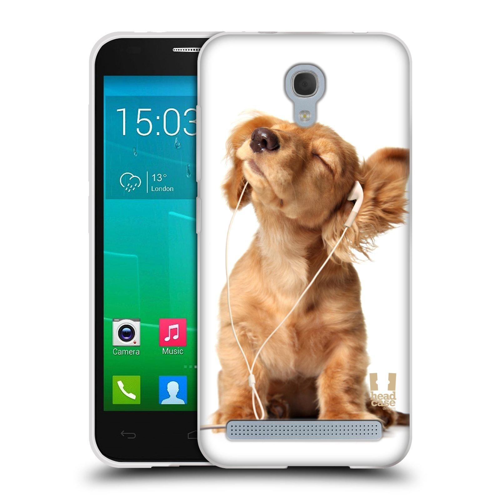 HEAD CASE silikonový obal na mobil Alcatel Idol 2 MINI S 6036Y vzor Legrační zvířátka roztomilé štěňátko se sluchátky MUSIC