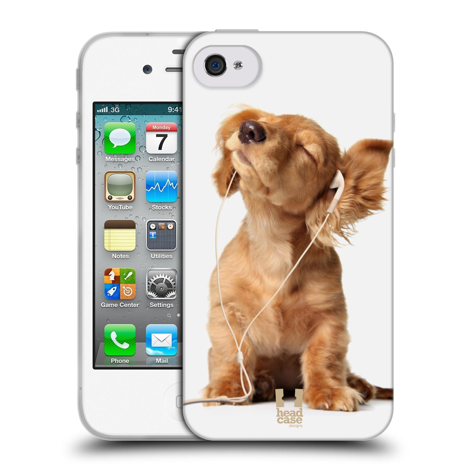 HEAD CASE silikonový obal na mobil Apple Iphone 4/4S vzor Legrační zvířátka roztomilé štěňátko se sluchátky MUSIC