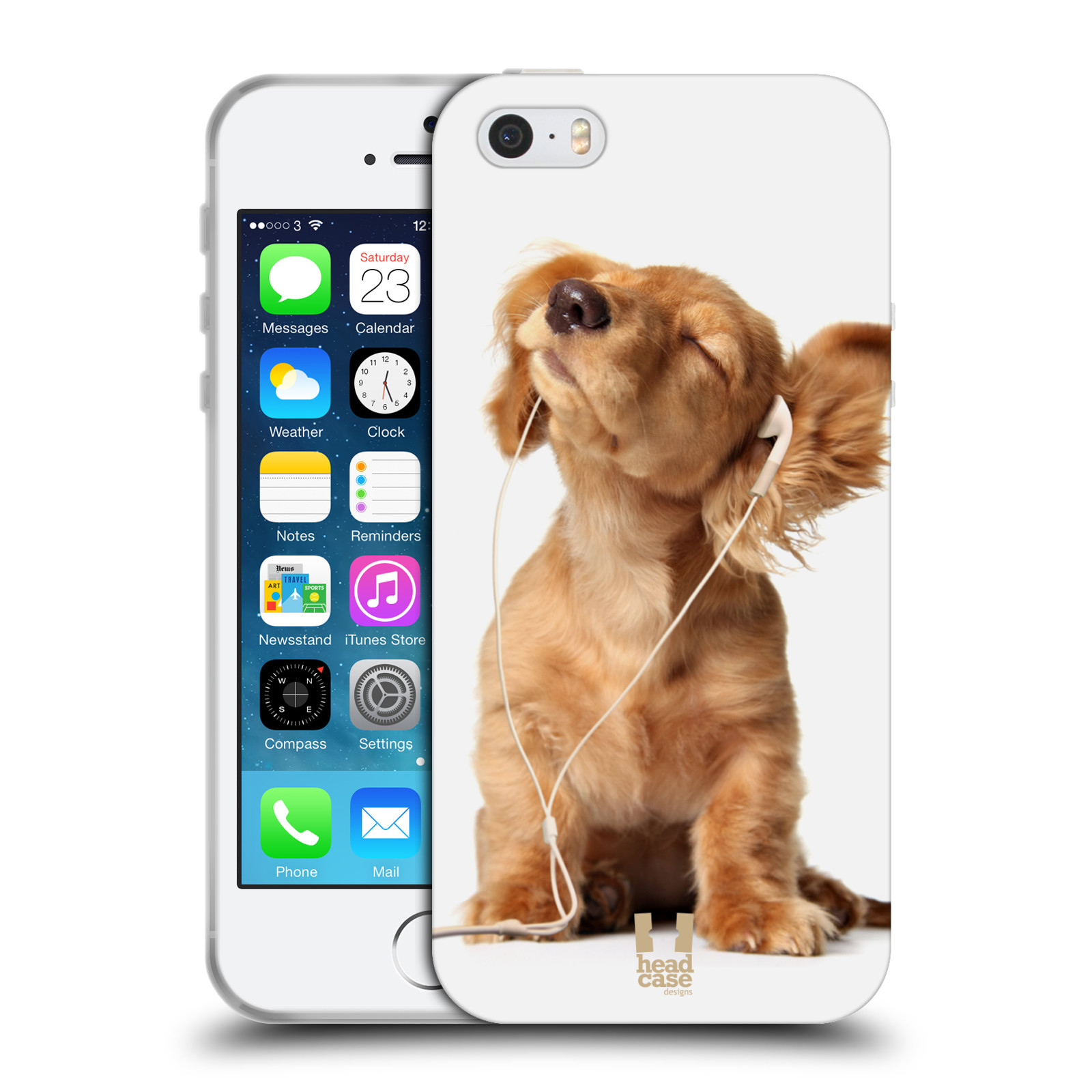 HEAD CASE silikonový obal na mobil Apple Iphone 5/5S vzor Legrační zvířátka roztomilé štěňátko se sluchátky MUSIC